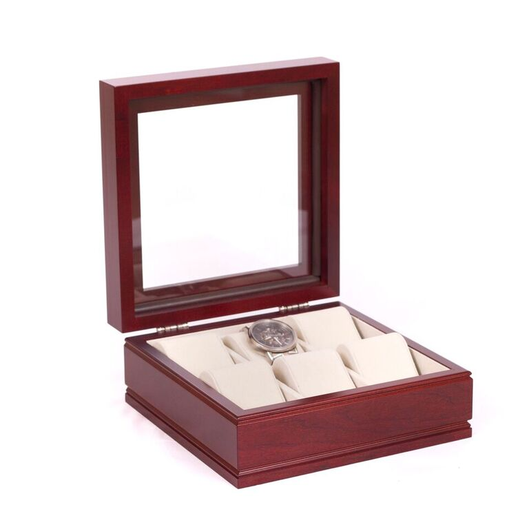 Lieutenant 6 Watch Box, Glass Top Storage Chest By American Chest