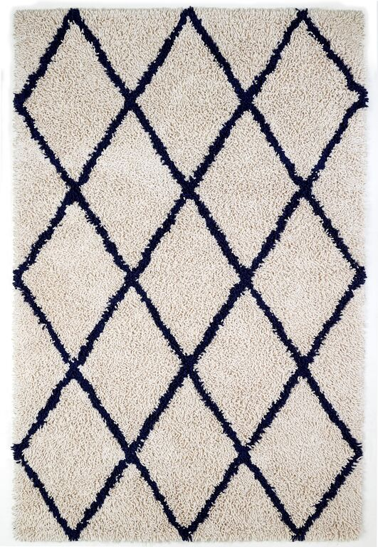 Anji Mountain Ivory Silky Shag With Navy Diamond Area Rug