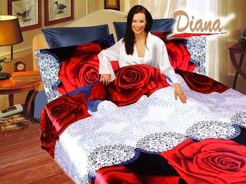Dophi A Queen Bed Silk Satin Bedding Floral Duvet Cover Set Diana