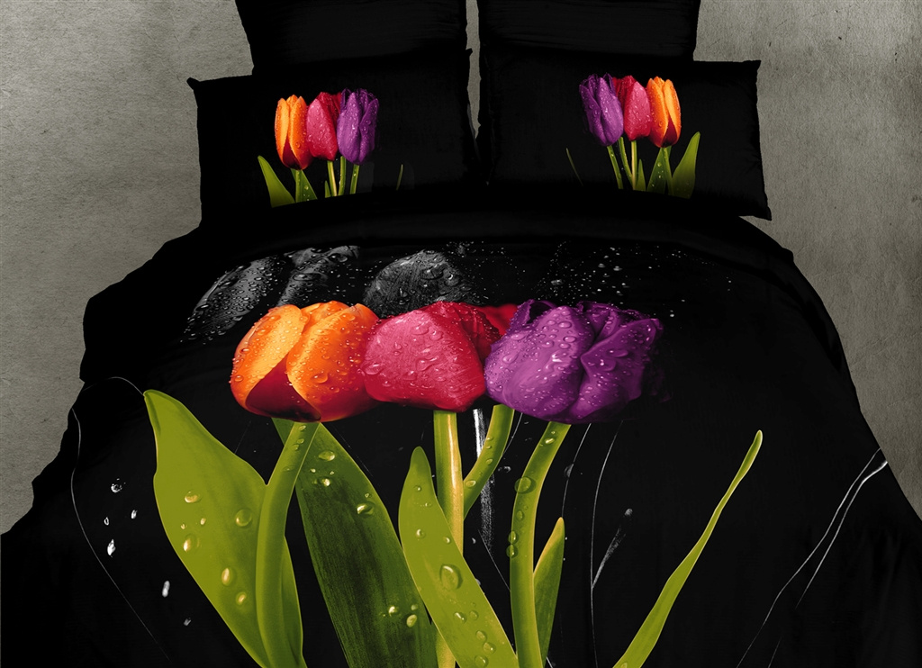Dolce Mela King Bed Black Modern Bedding Duvet Cover Set