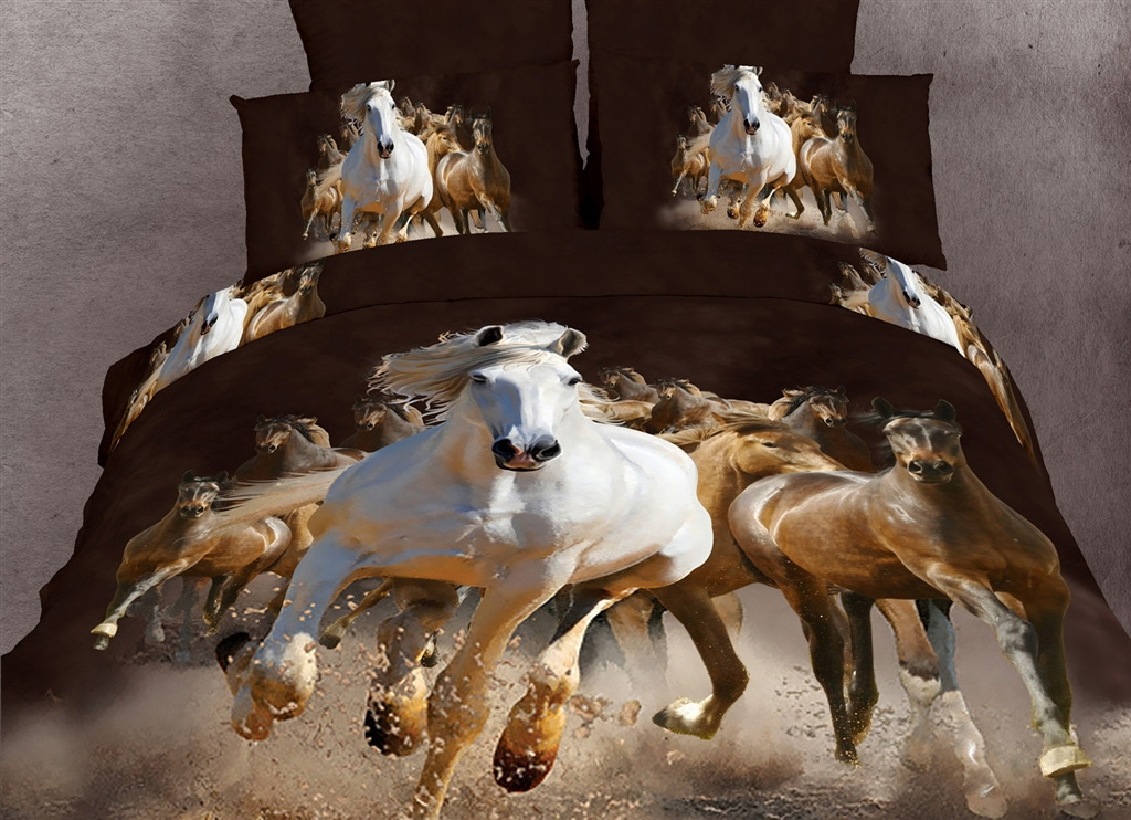 Dolce Mela Horses King Bed Luxury Bedding Duvet Cover Set