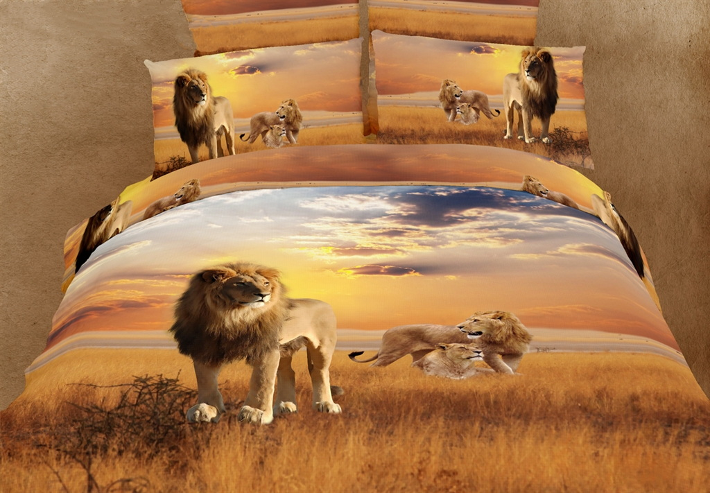 Dolce Mela Safari Themed Luxury Bedding King Duvet Cover Set