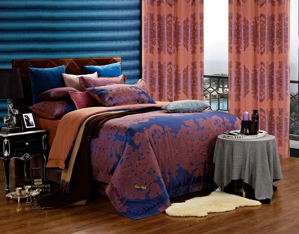 Dolce Mela Jacquard Damask Luxury Bedding Queen Duvet Cover Set