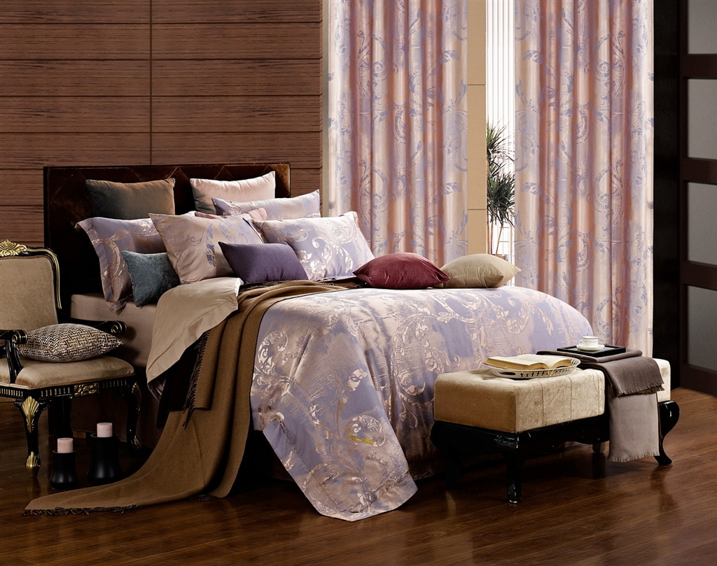 Dolce Mela Jacquard Damask Luxury Bedding King Duvet Cover Set