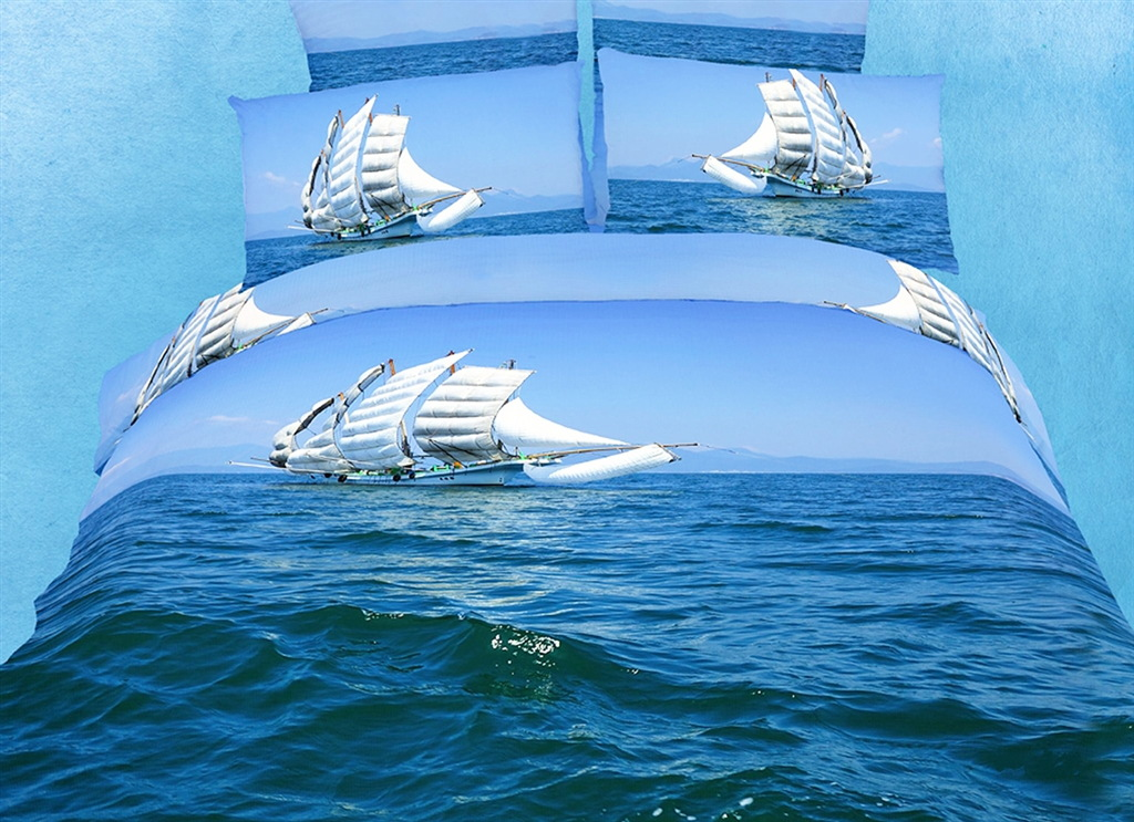 Dolce Mela Queen Bedding Modern Marine Design Duvet Cover Set
