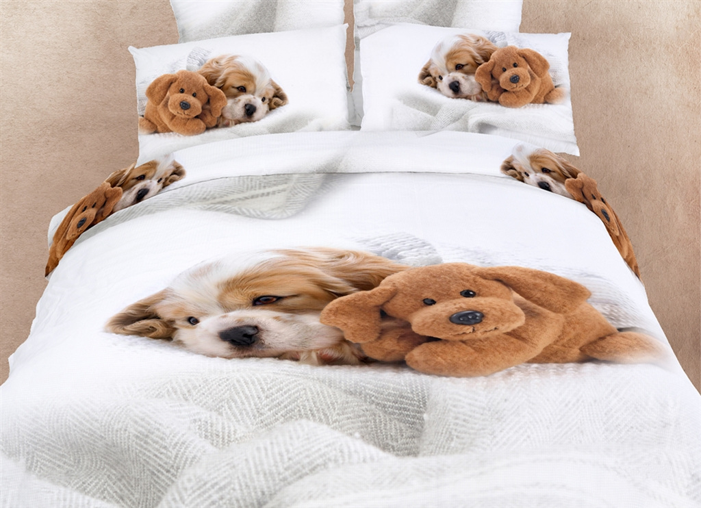 Dolce Mela Dorm Room Bedding XL Twin Cute Dogs Animal Print Duvet Cover Set