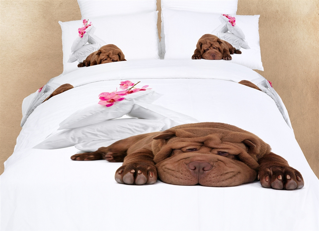 Dolce Mela Dorm Room Bedding XL Twin Fun Dog Print Duvet Cover Set