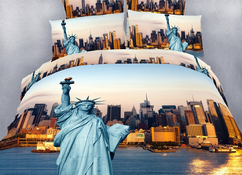 Dolce Mela NYC City Themed XL Twin Size Bedding Duvet Cover Set