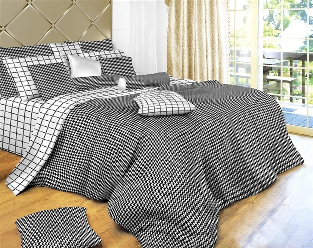 Dolce Mela Black & White Check Bedding 6 Piece Duvet Cover Set