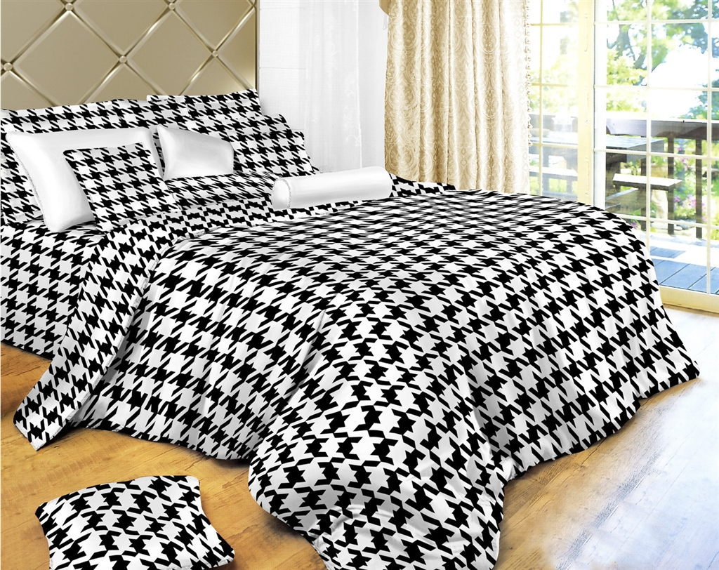 Dolce Mela Houndstooth Check Bedding 6 Piece Duvet Cover Set
