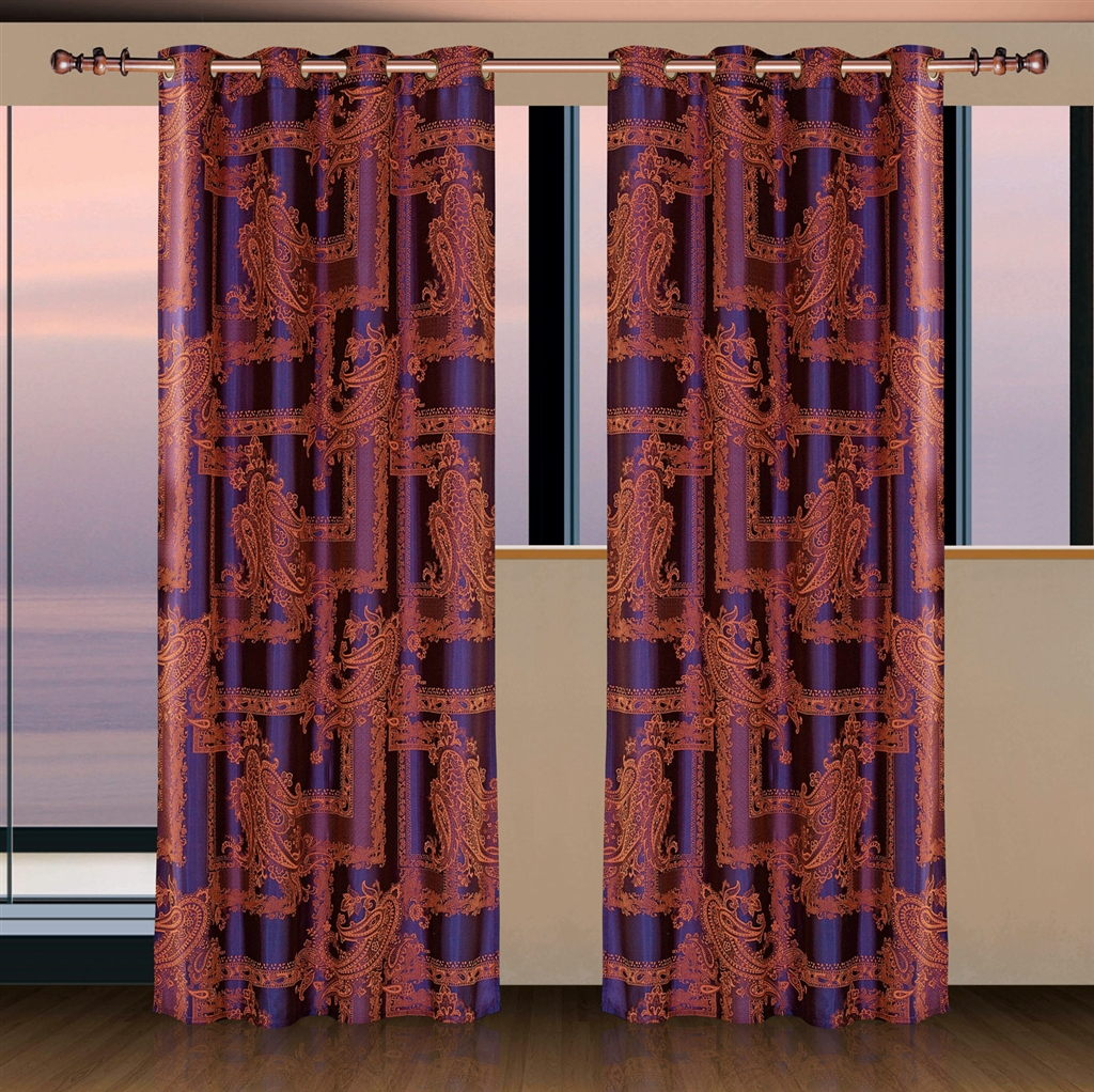 Dolce Mela Window Treatment Damask Drapes Calypso Curtain Panel
