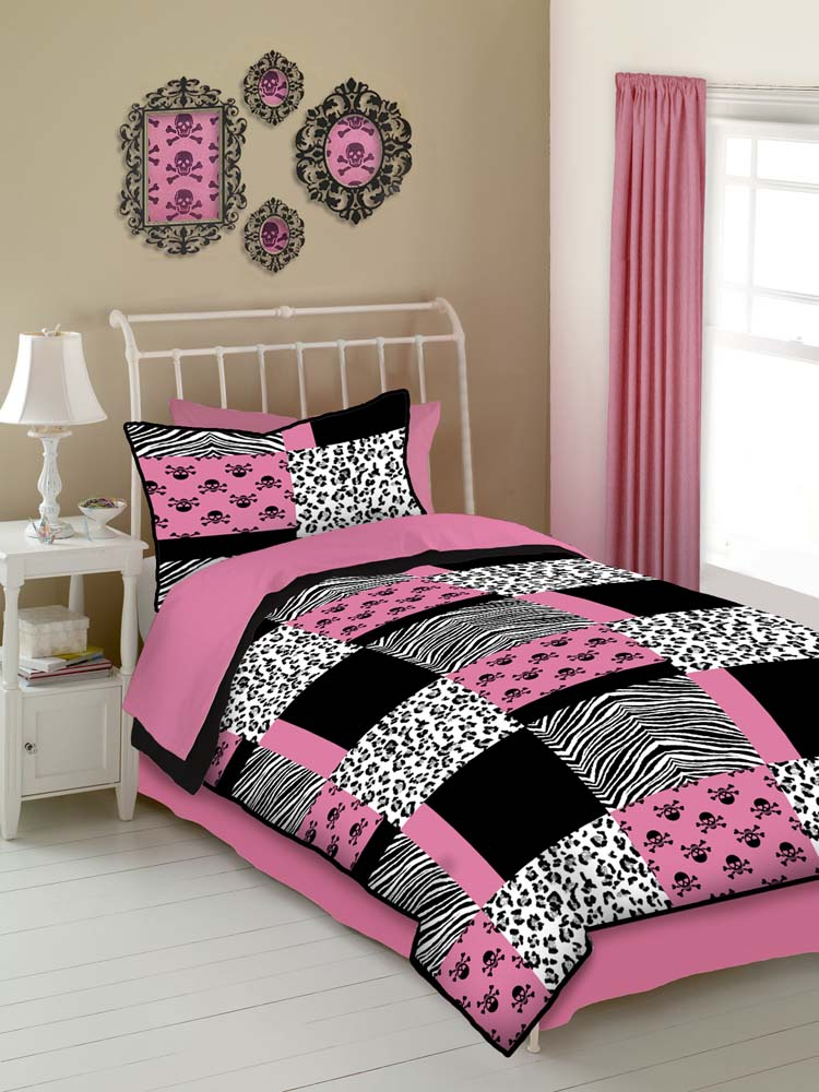Veratex Pink Skulls Comforter Bed Set