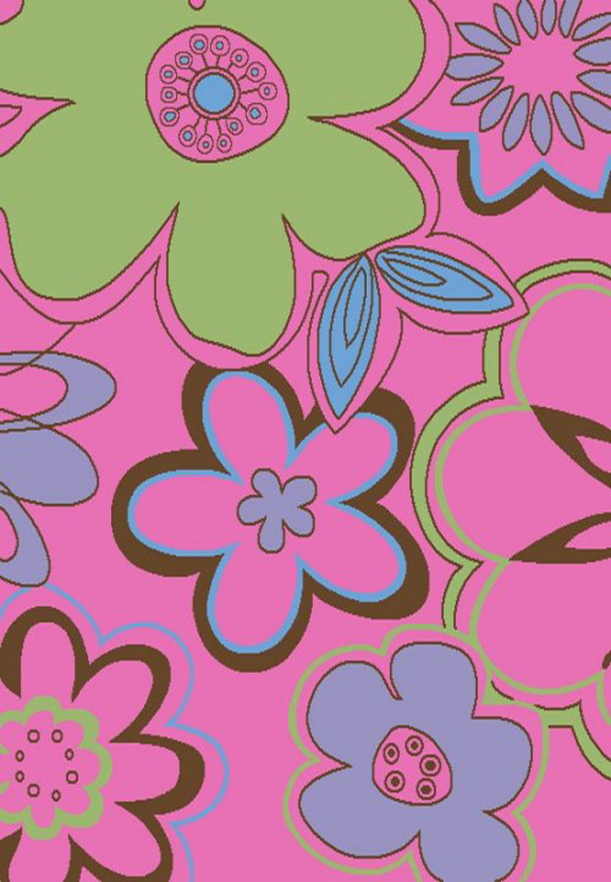 Groovy Flowers Pink 2'7 X 4'1