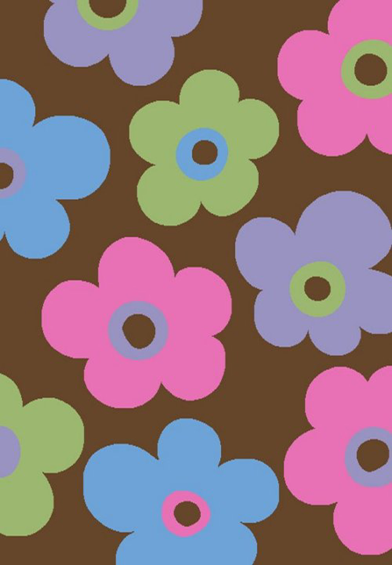 Ditsy Flowers Brown 2'7 X 4'1
