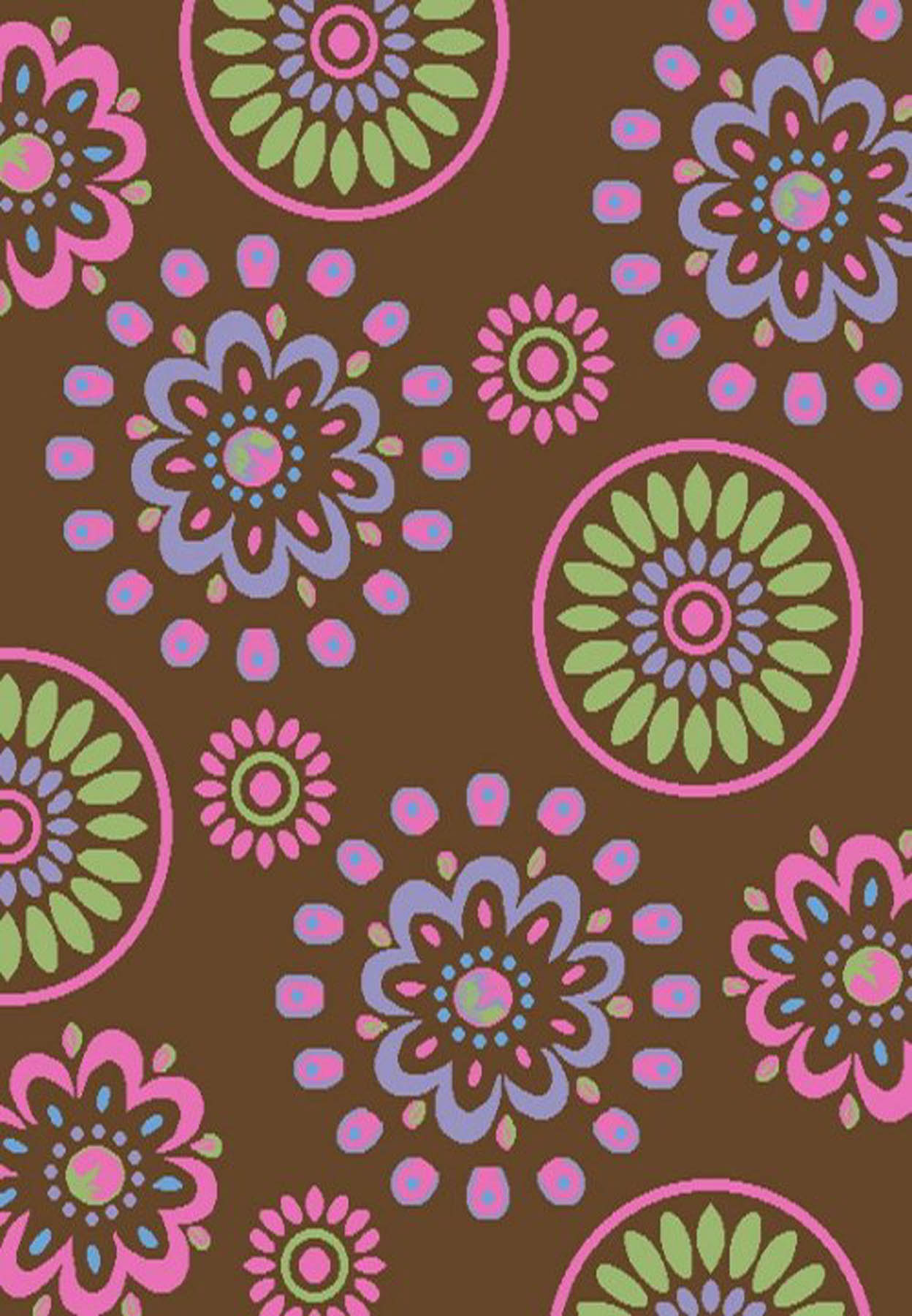 Flower Kaleidoscope Brown 2'7 X 4'1