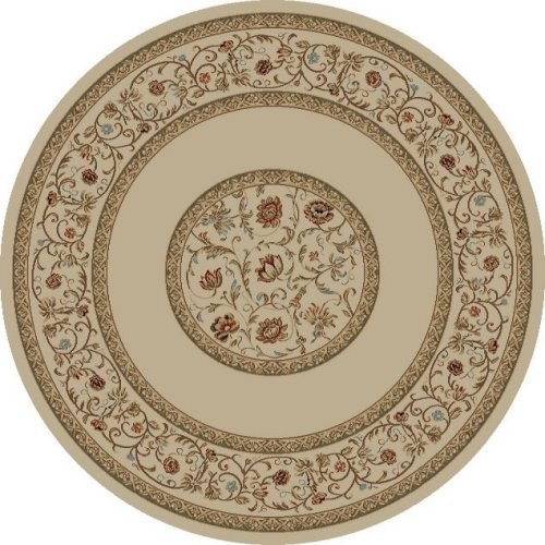 Floral Border Ivory 5'3 Round