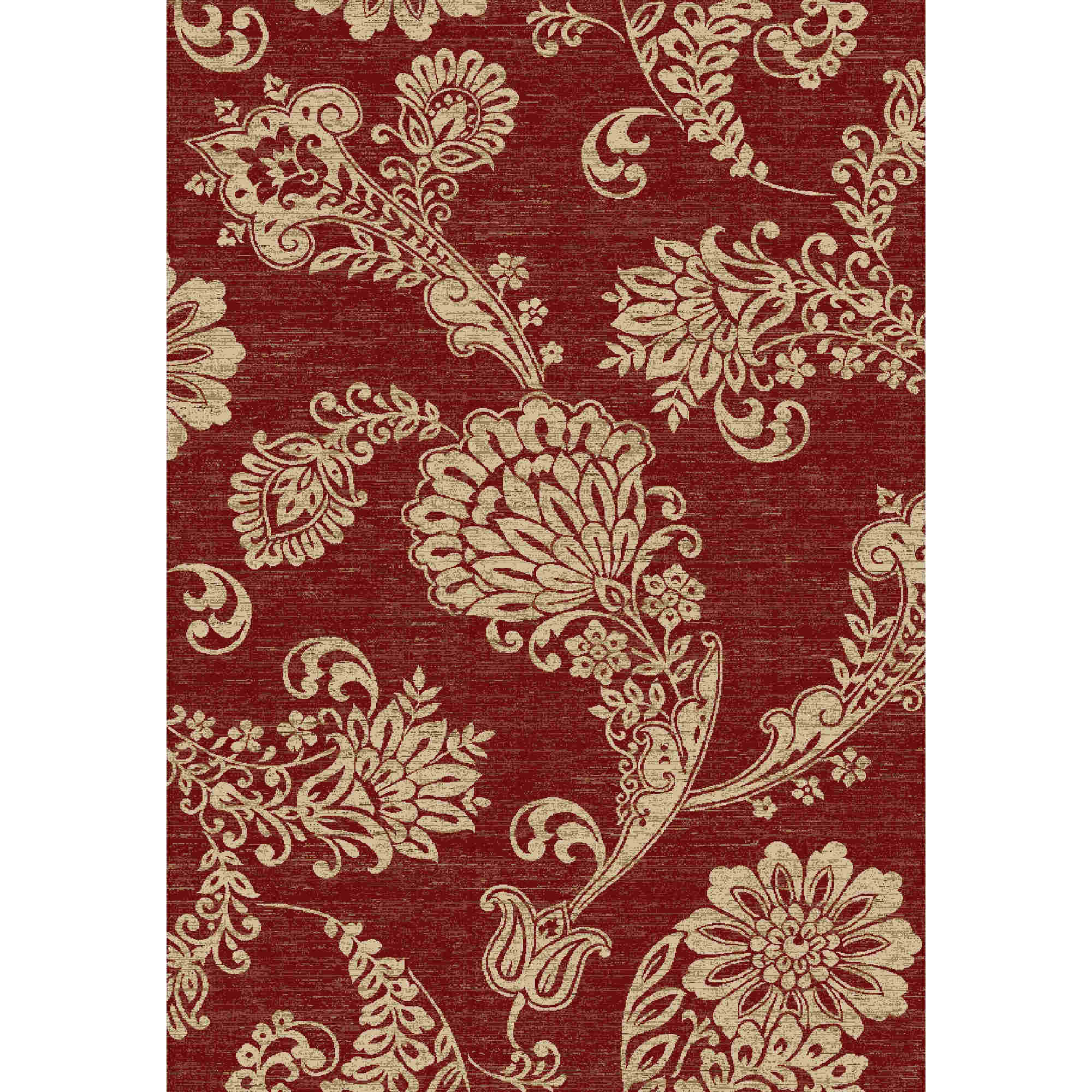 Paisley Flower Red 5' 3 Round