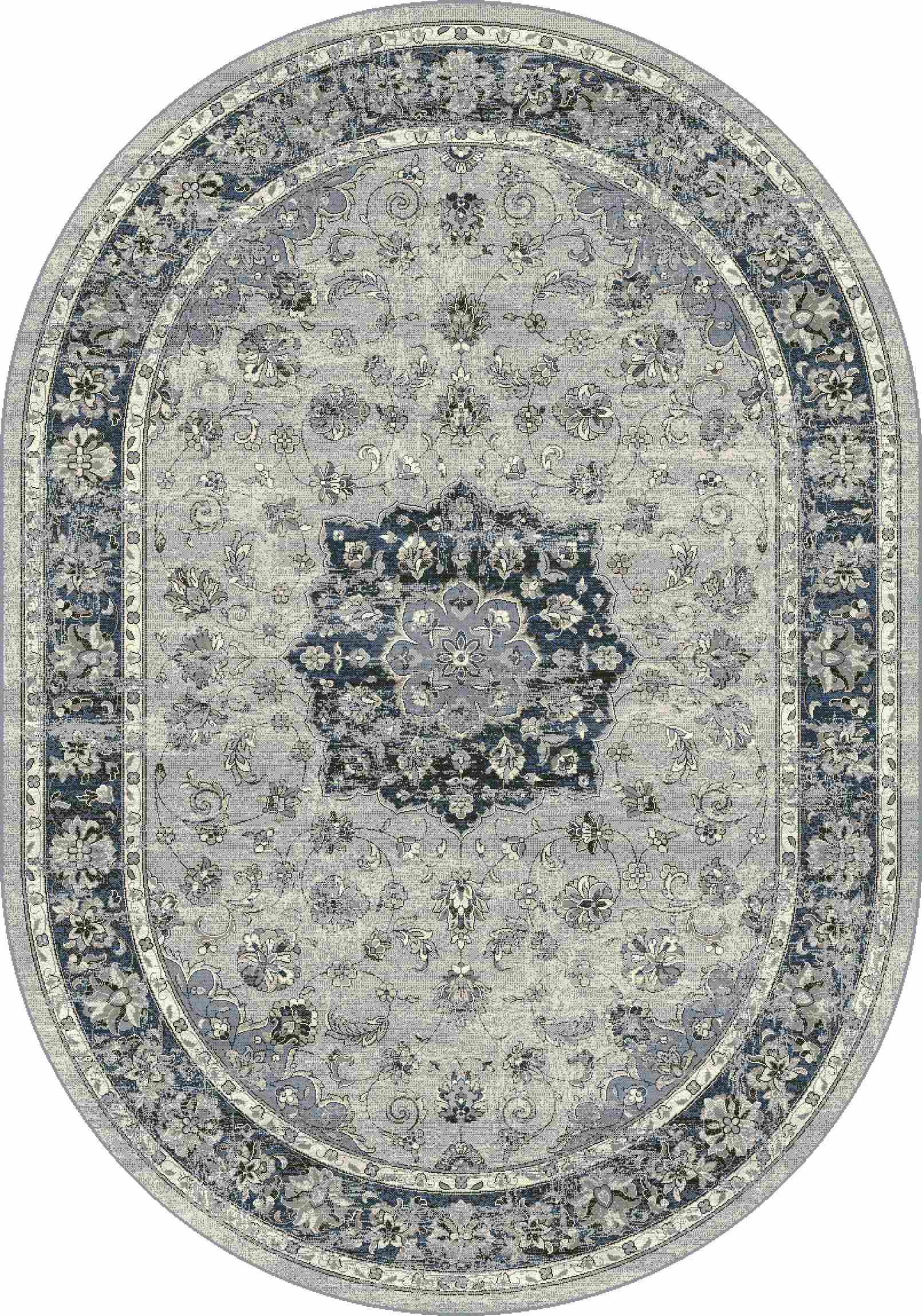 Dynamic Rugs Ancient Garden Distressed Silver/blue 57559 Area Rug