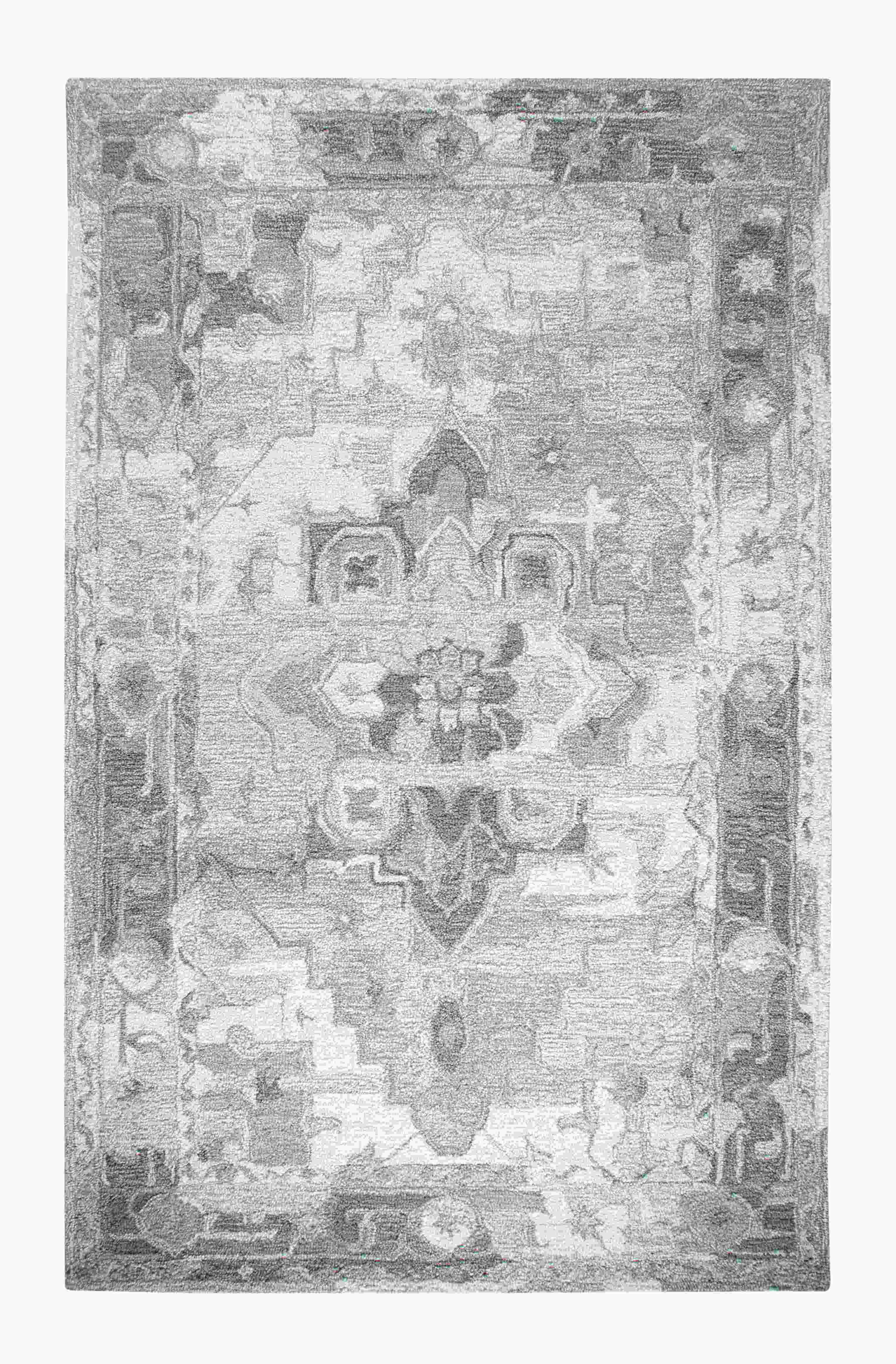 Dynamic Rugs Avalon Distressed Silver/ivory 88801 Area Rug
