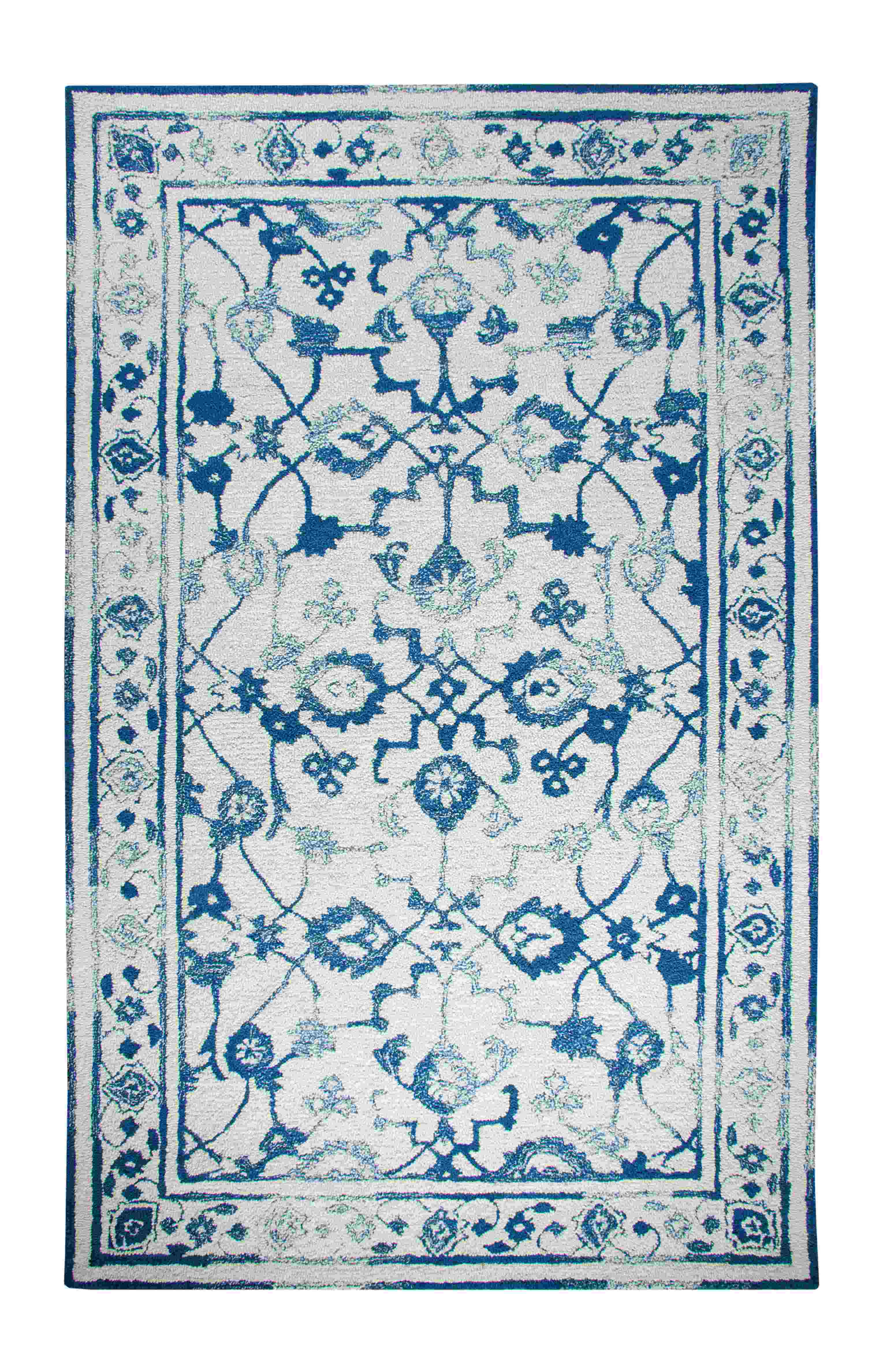 Dynamic Rugs Avalon Distressed Ivory/dk Blue 88802 Area Rug