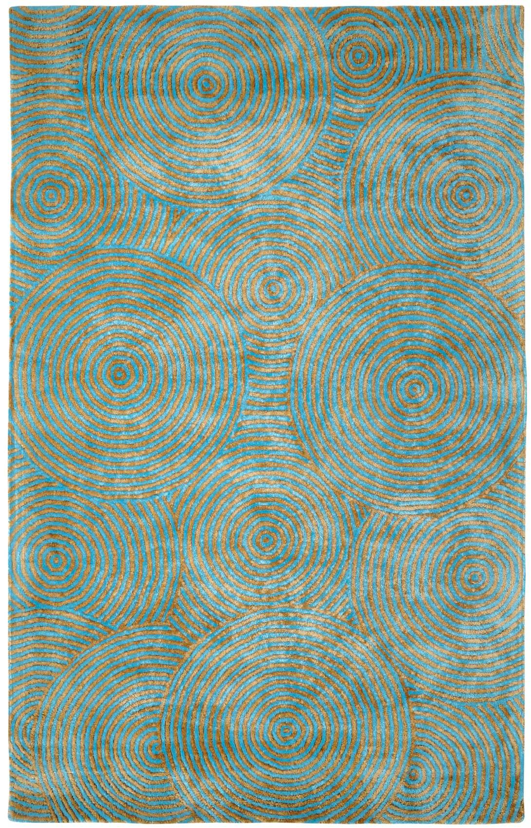 Dynamic Rugs Celeste Geometric Aqua/gold 99225 Area Rug