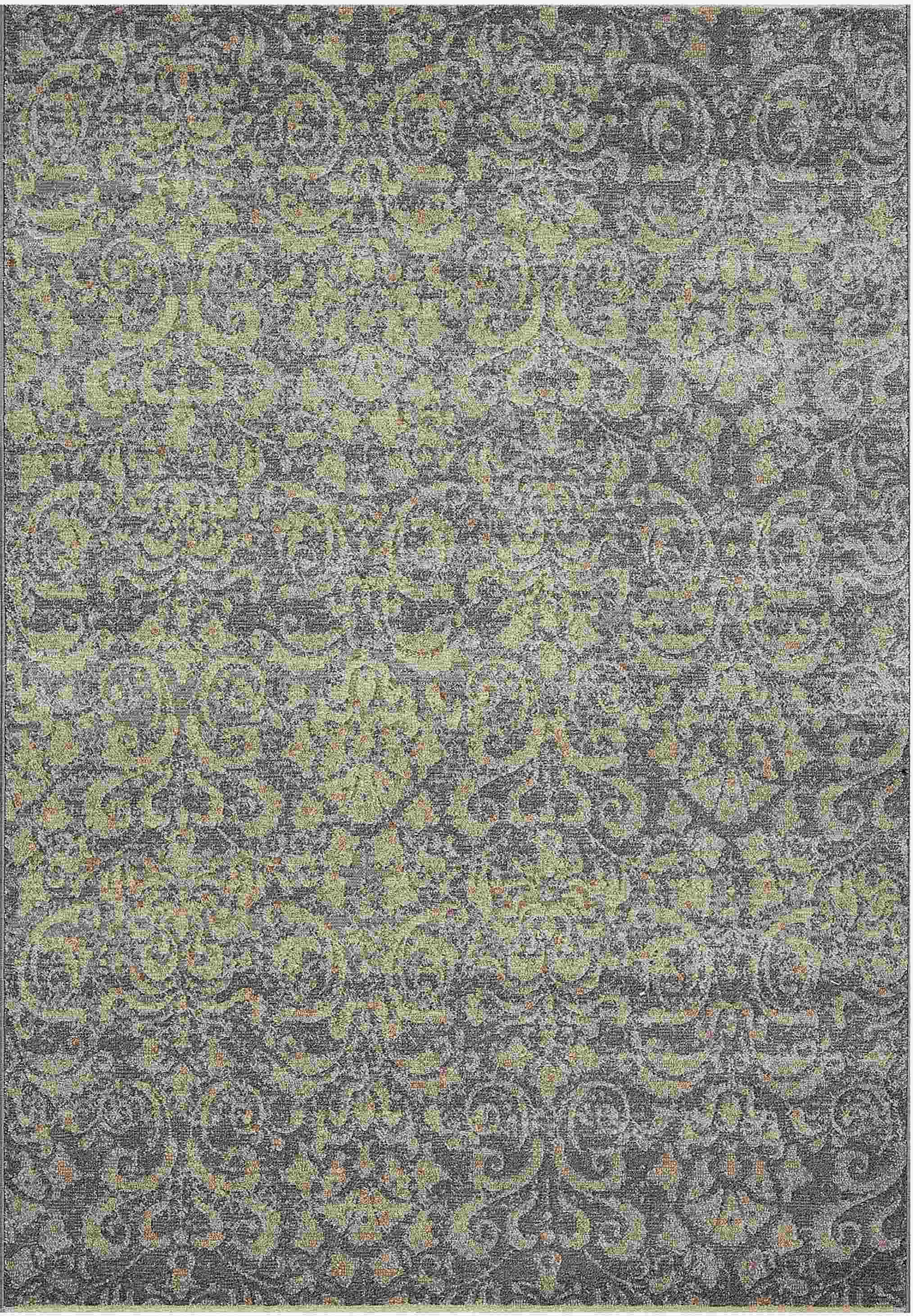 Dynamic Rugs Mysterio Medallion/damask Silver 1217 Area Rug