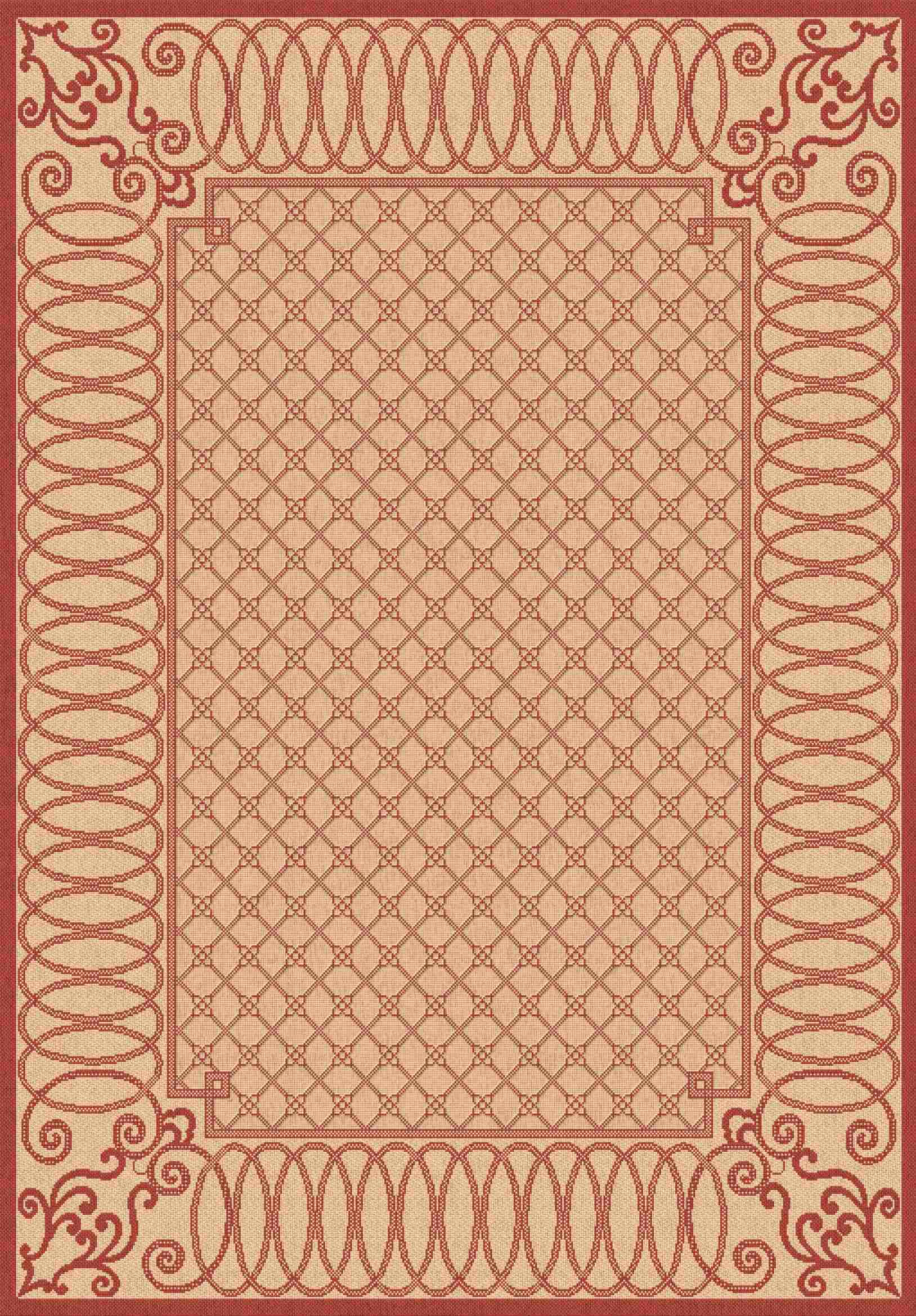 Dynamic Rugs Piazza Medallion/damask Beige/red 2587 Area Rug