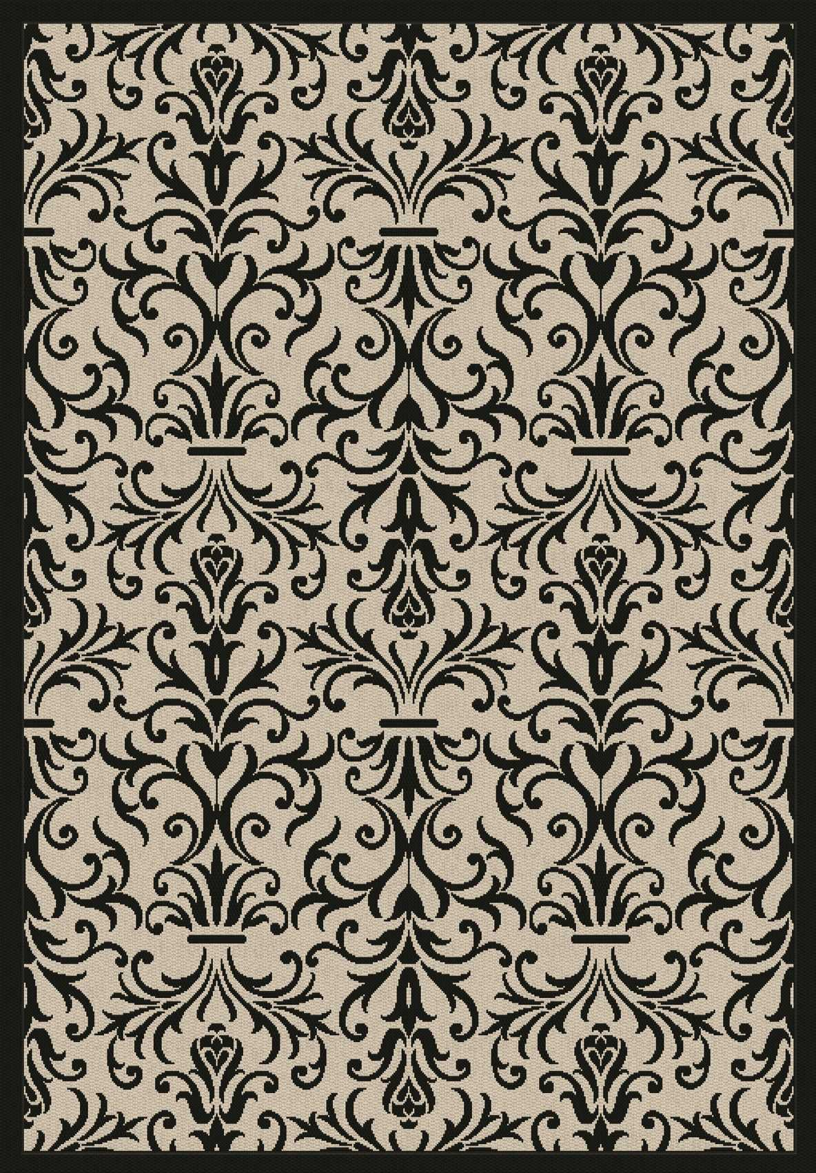 Dynamic Rugs Piazza Medallion/damask Sand/black 2742 Area Rug