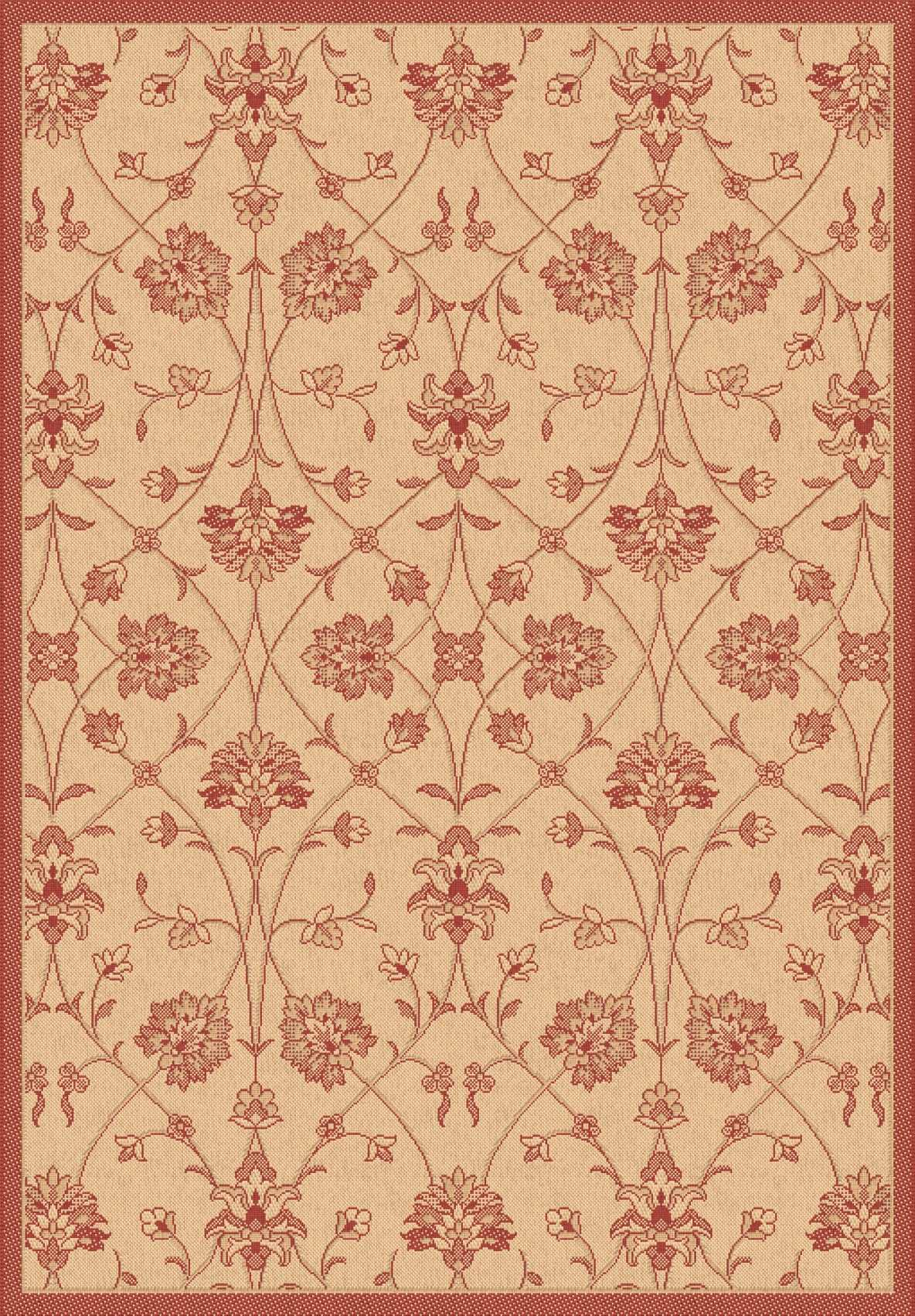 Dynamic Rugs Piazza Floral Nat/red 2744 Area Rug