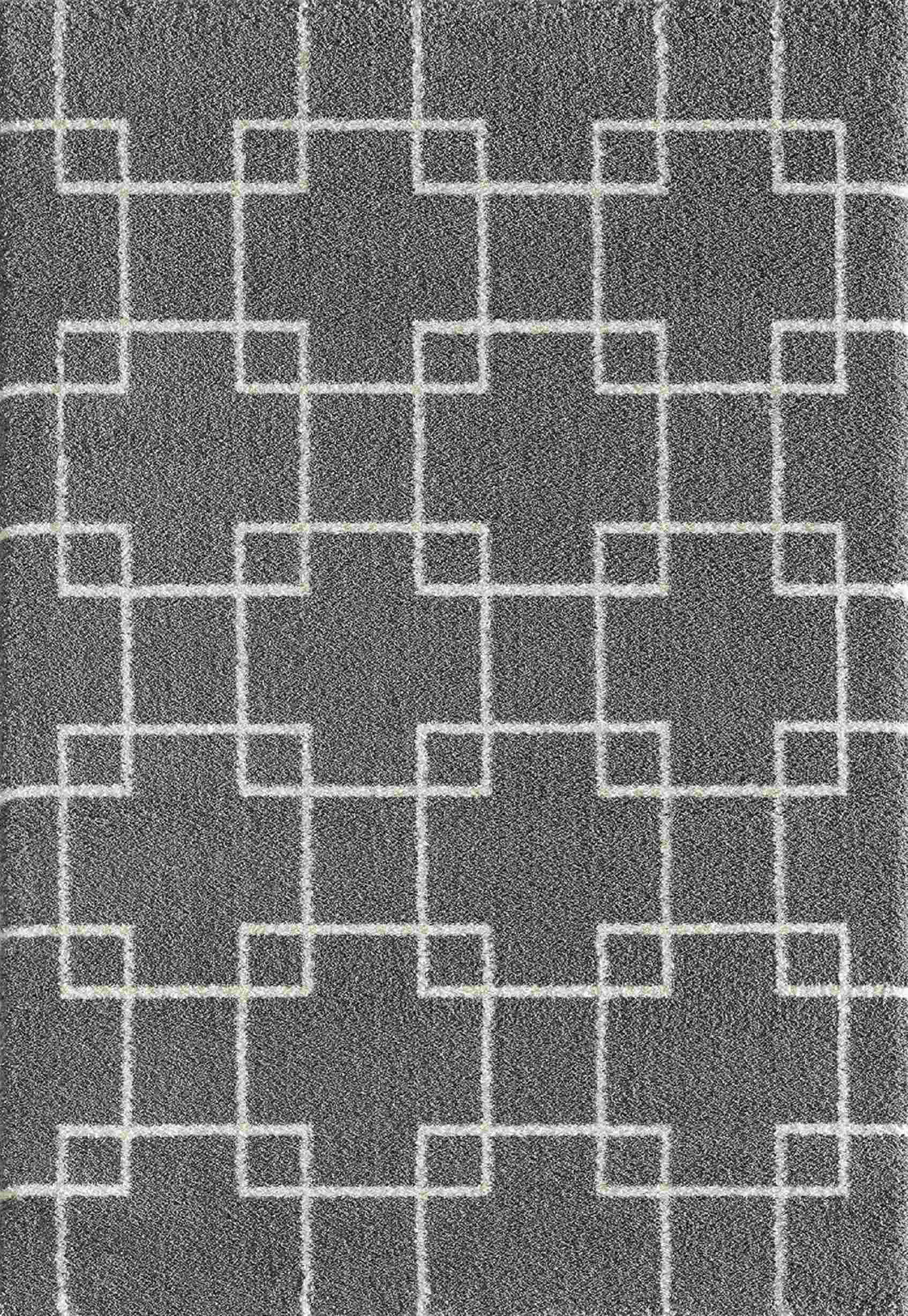 Dynamic Rugs Silky Shag Geometric Grey 5901 Area Rug