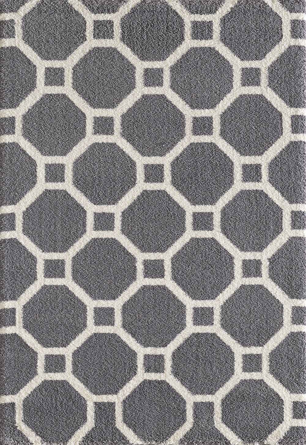 Dynamic Rugs Silky Shag Geometric Grey 5903 Area Rug
