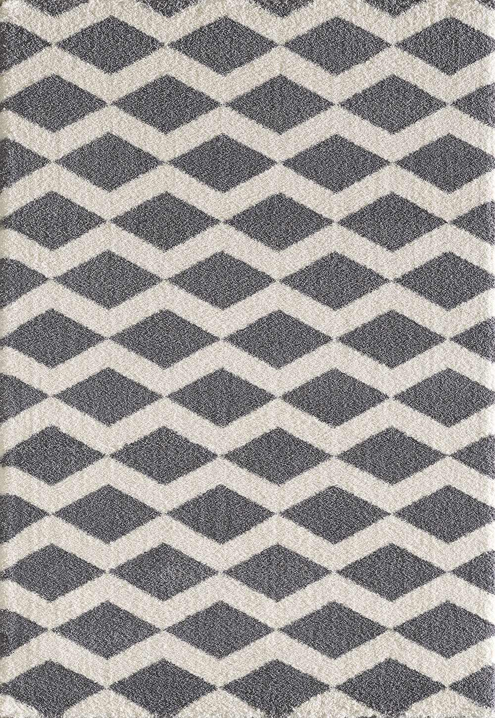 Dynamic Rugs Silky Shag Geometric Grey 5904 Area Rug