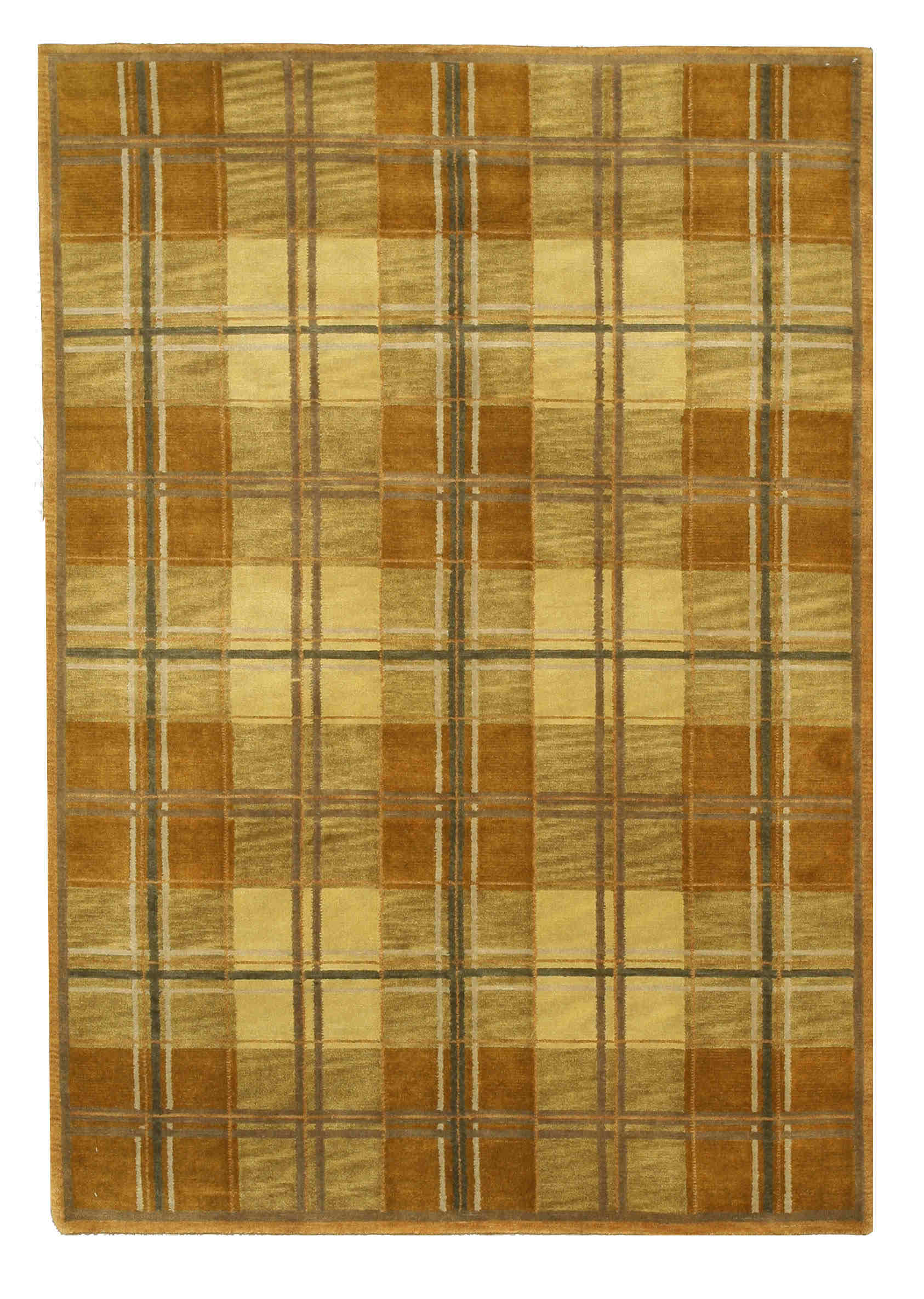 Eorc 16304 Brown Hand Knotted Wool Tartan Rug