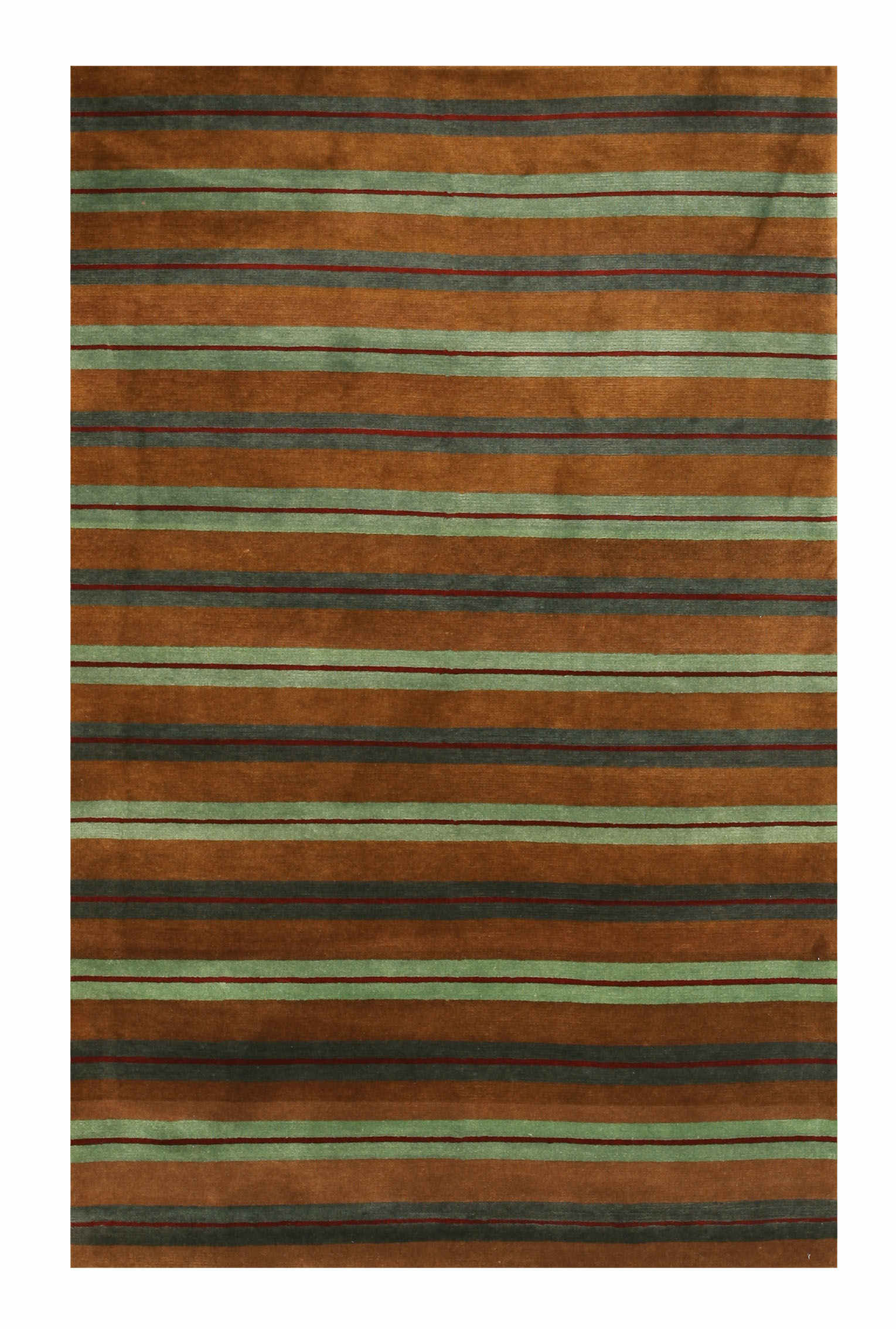 Eorc 16305 Brown Hand Knotted Wool Stripe Rug