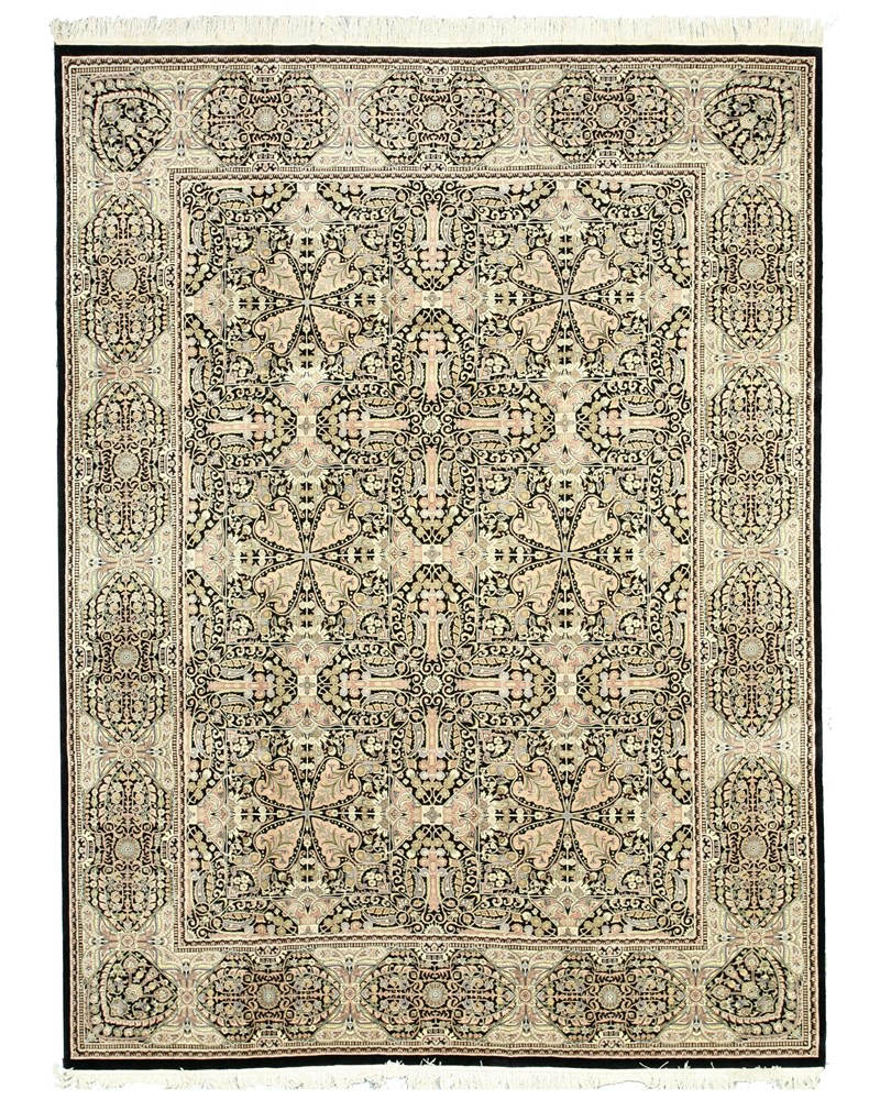 Eorc 8988 Hand Knotted Wool Pak-modern Rug, 9'1 X 12'4, Black
