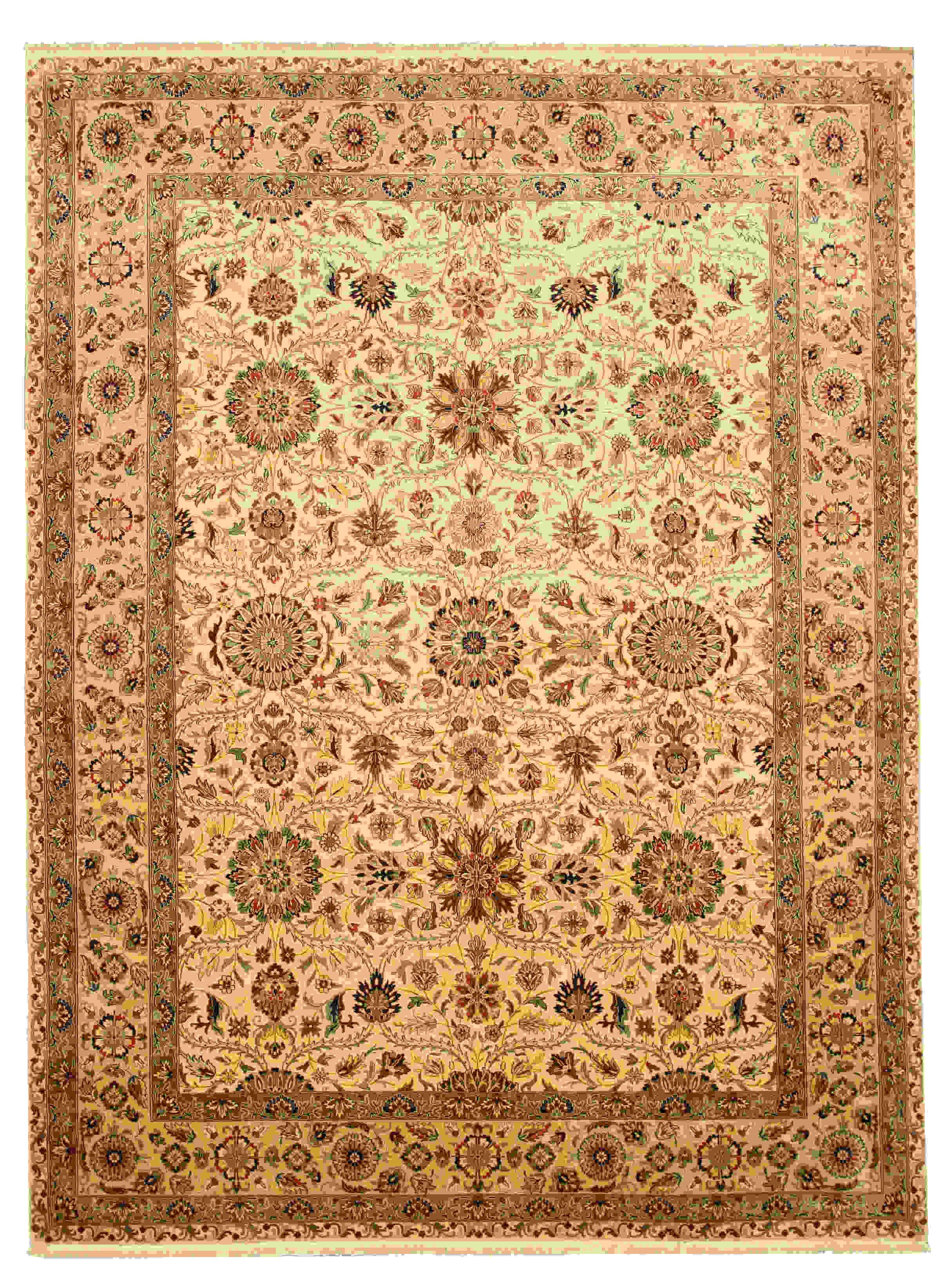 Eorc 9004 Ivory Hand Knotted New Zealand Wool Tabriz Rug