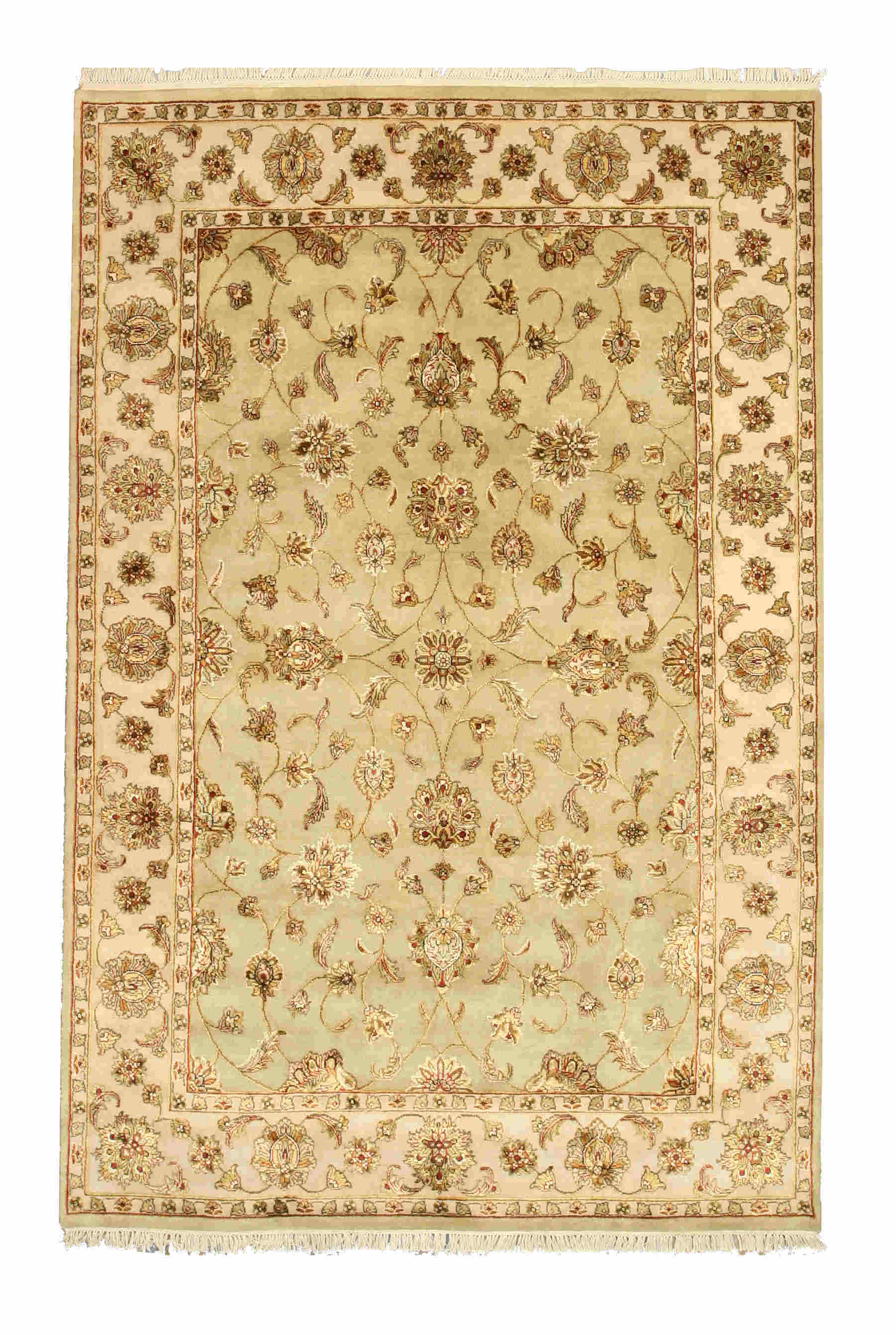 Eorc 9009 Green Hand Knotted Wool & Silk Flower Jaipur Rug