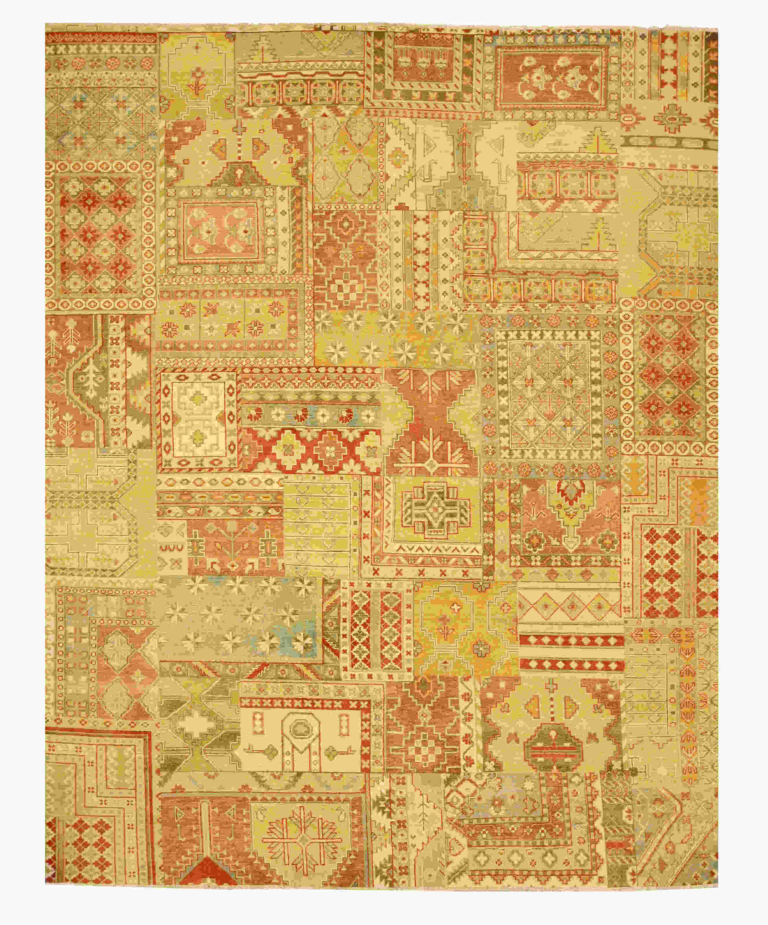 Eorc 9027 Multi Hand Knotted Wool Patch Rug