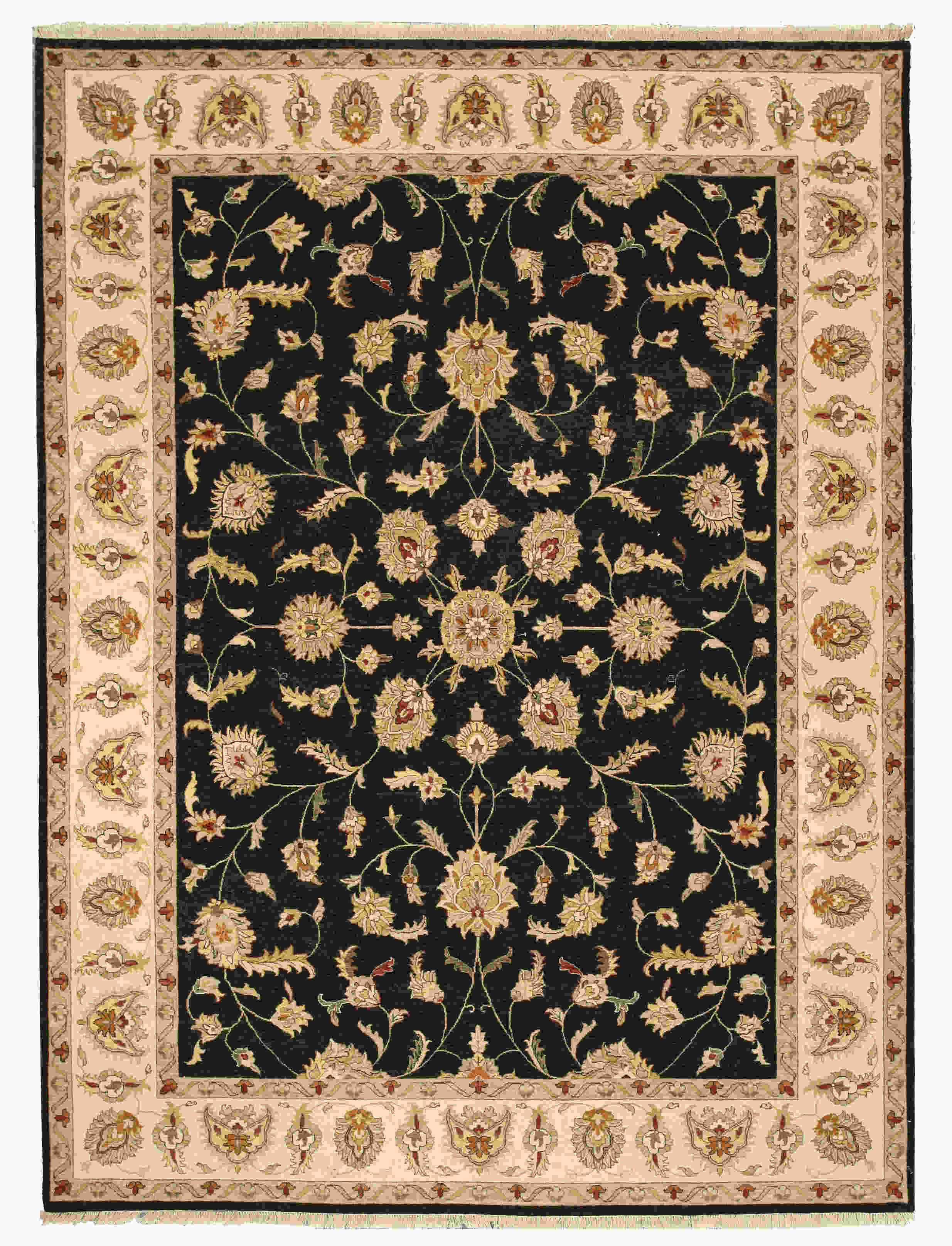 Eorc 9121 Black Hand Knotted Wool Agra Rug