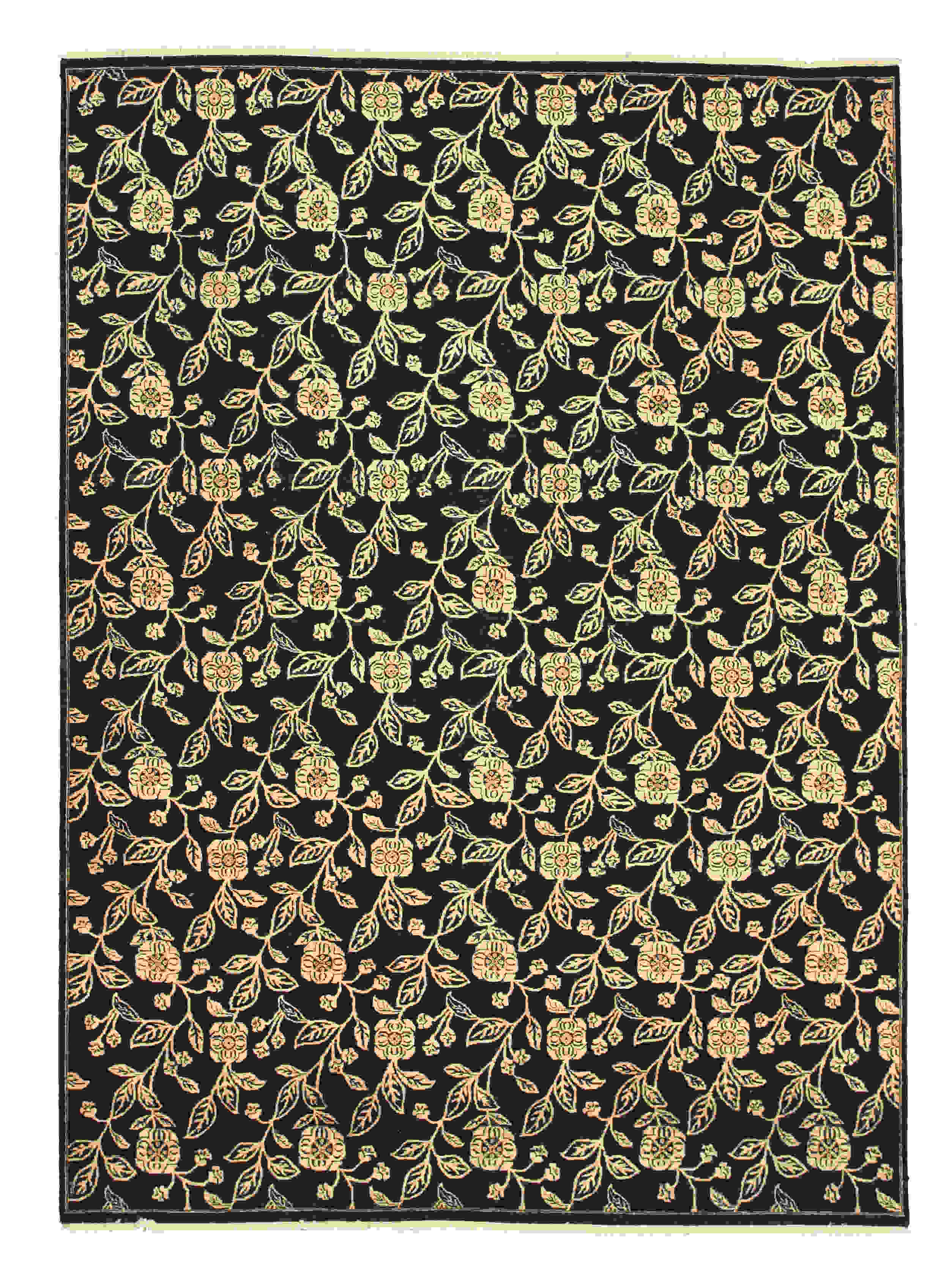 Eorc 9167 Black Hand Knotted Wool Agra Rug