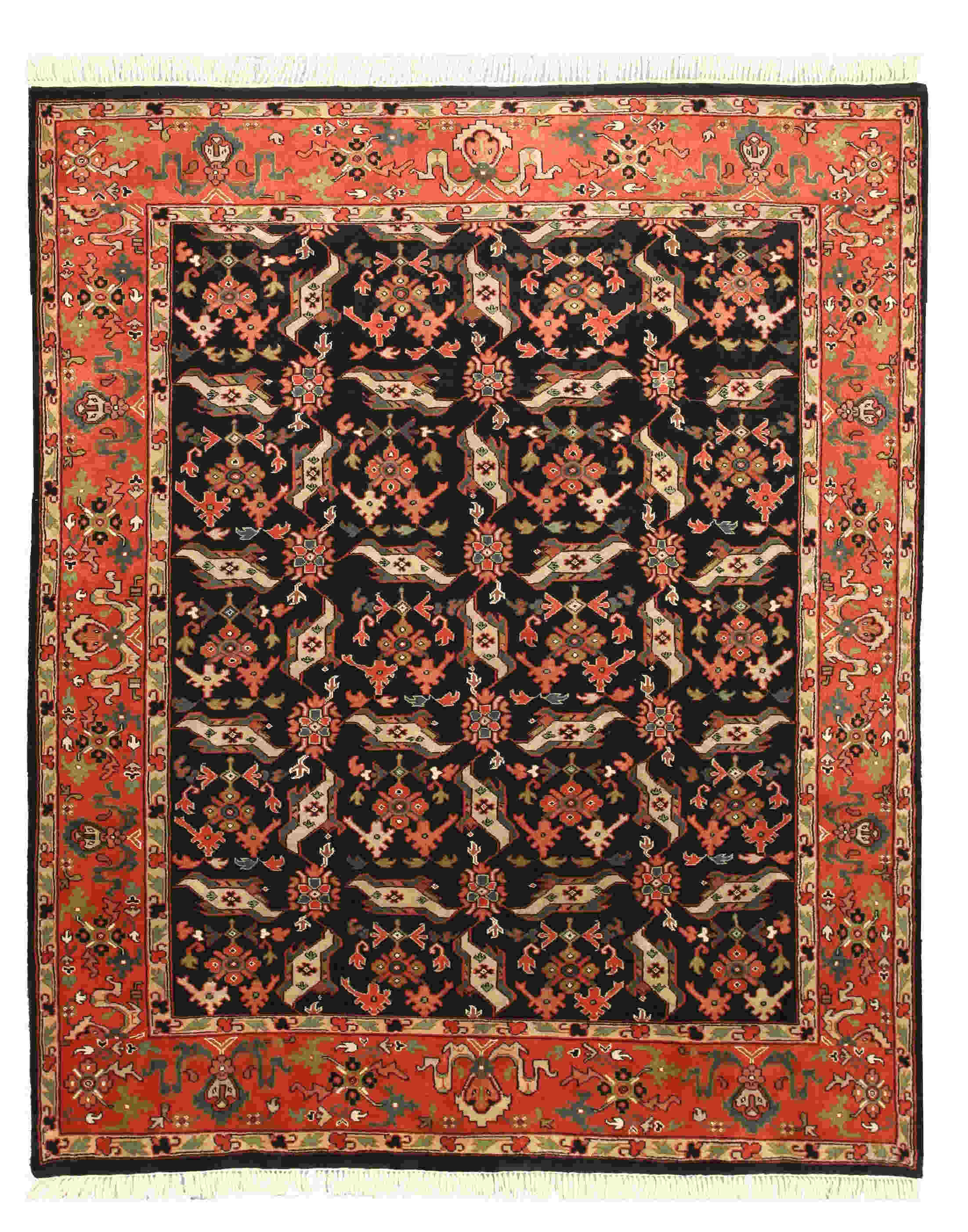 Eorc 9196 Black Hand Knotted Wool Allover Heriz Rug