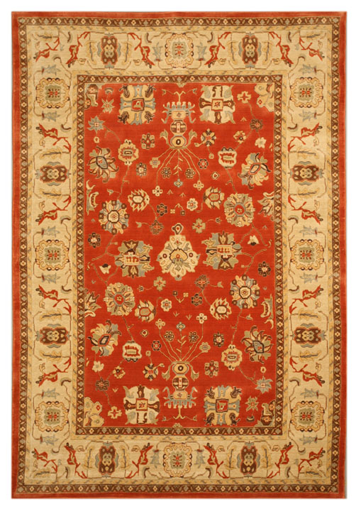 Eorc C03rd Red Wool Burnish Rust/ivory Area Rug
