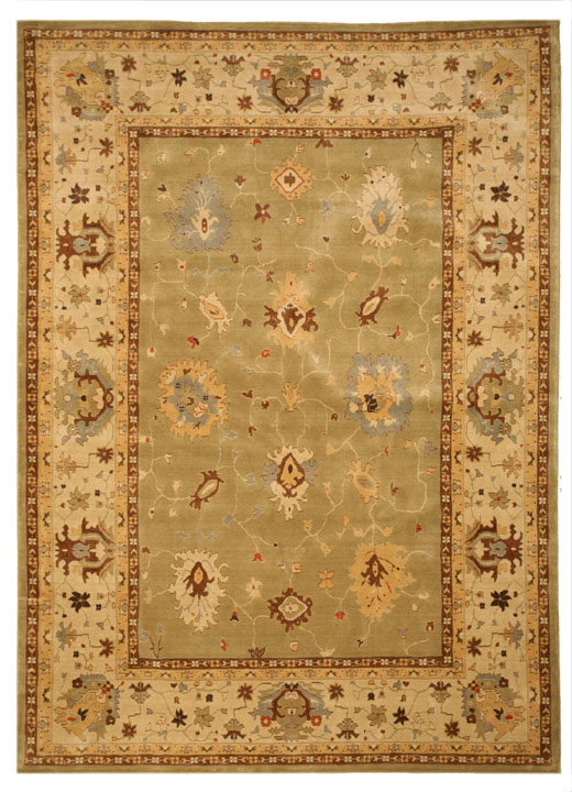 Eorc C04gn Green Wool Karabagh Bay Leaf/ivory Area Rug