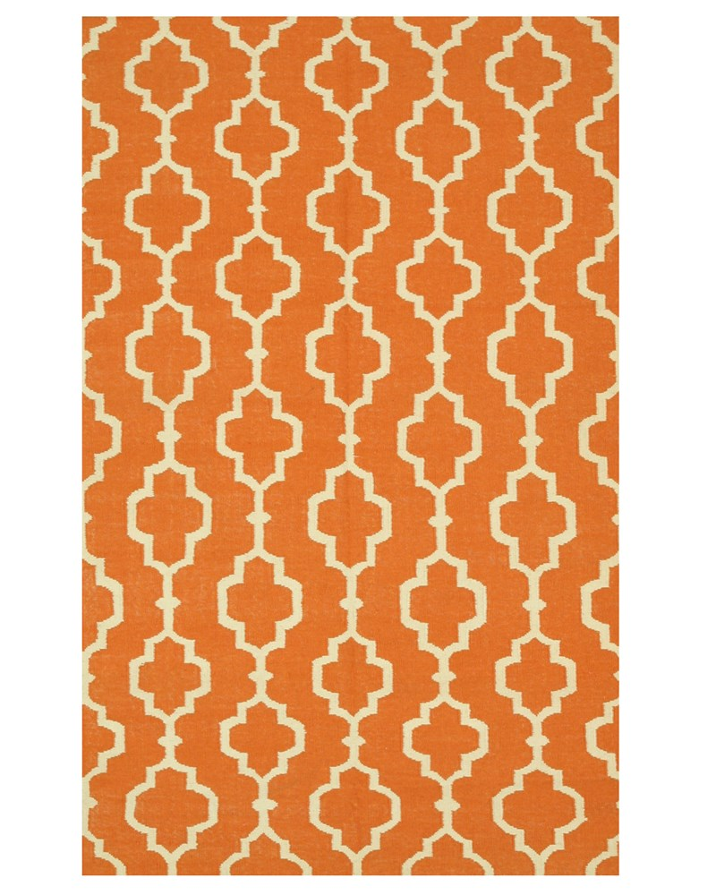 EORC DM86OR Handmade Wool Reversible Modern Moroccan Kilim Rug, 5' x 8', Orange