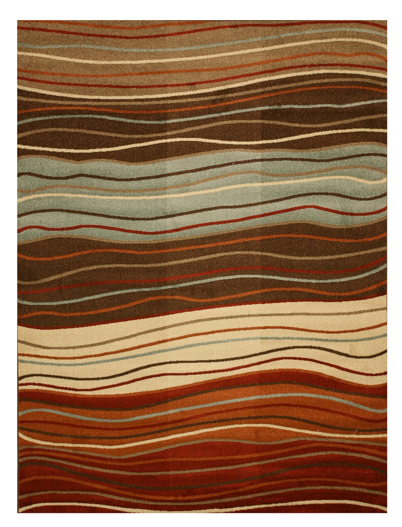 Eorc Grn3829 Brown Waves Rug