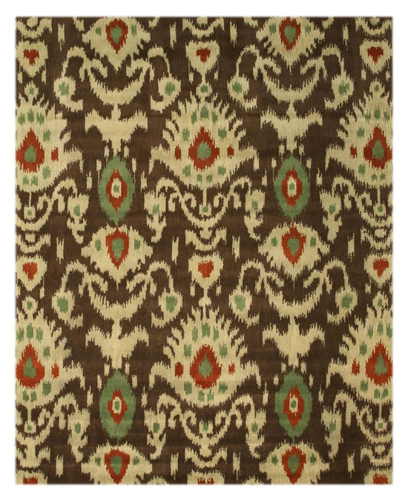 Eorc Ie26bn Hand Tufted Wool Ikat Rug, 8'9 X 11'9, Brown
