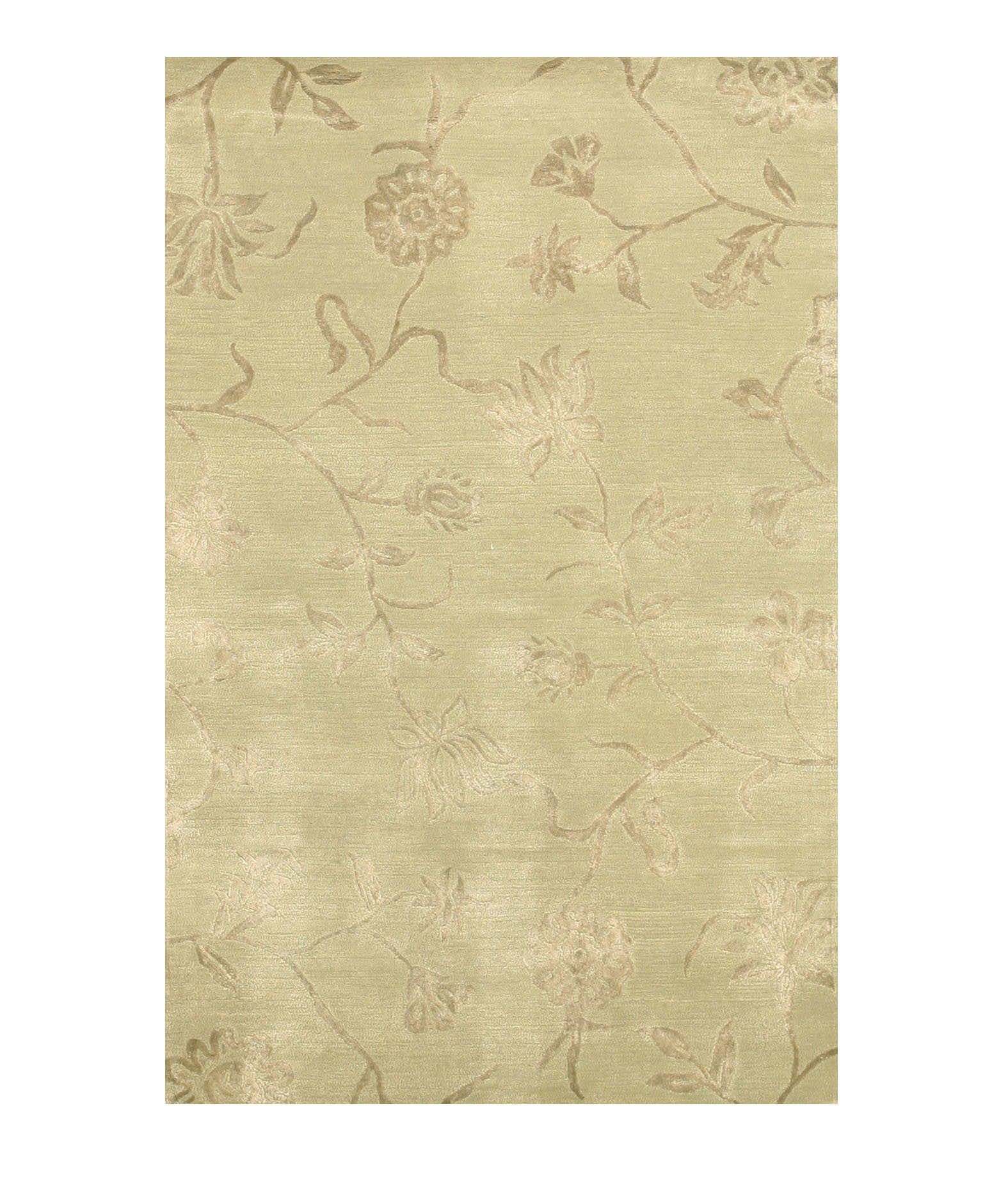 Eorc Ie36bl Green Hand Tufted Wool & Silk Contemporary Floral Rug