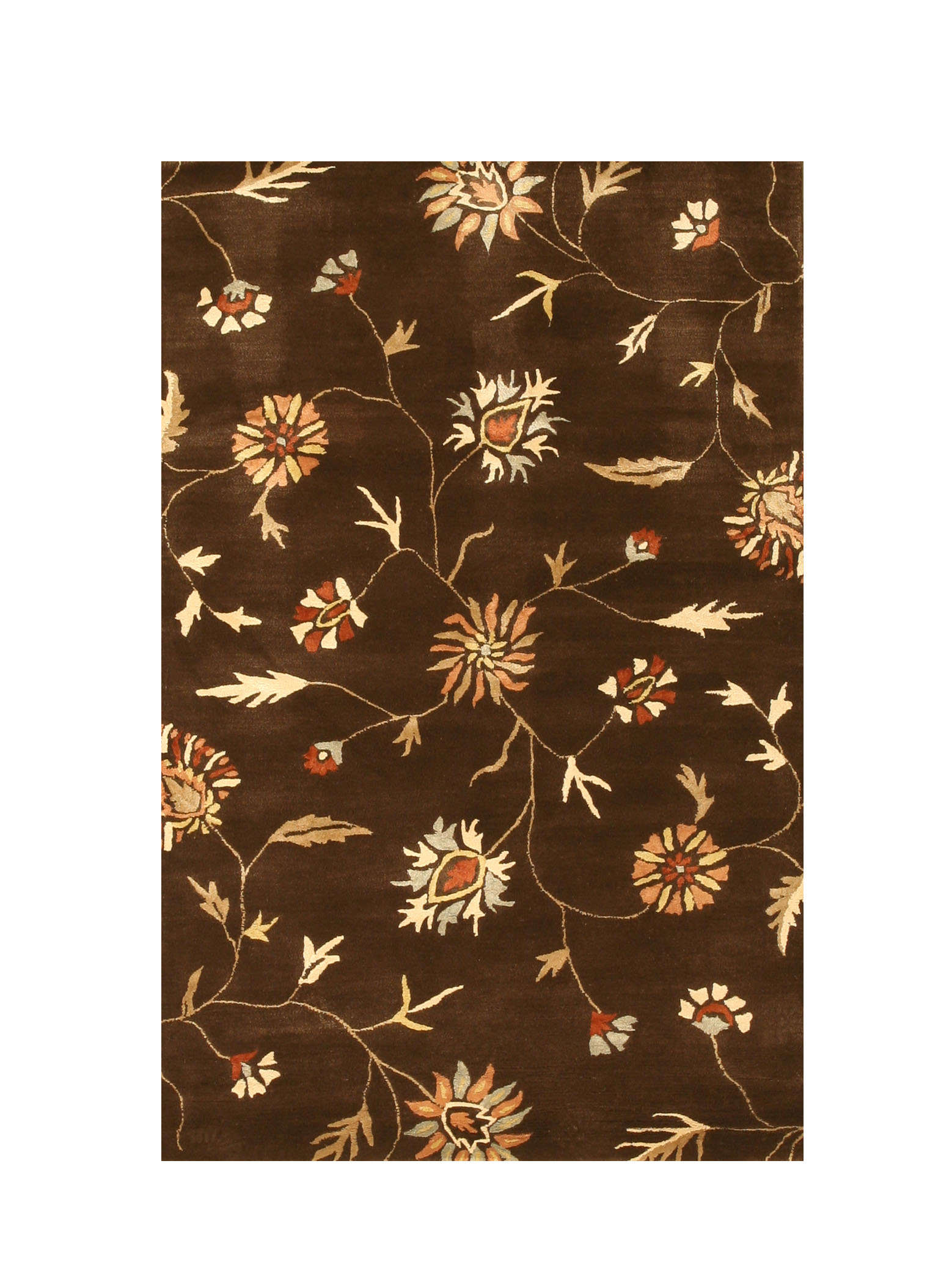 Eorc Ie37bn Brown Hand Tufted Wool & Silk Modern Floral Rug