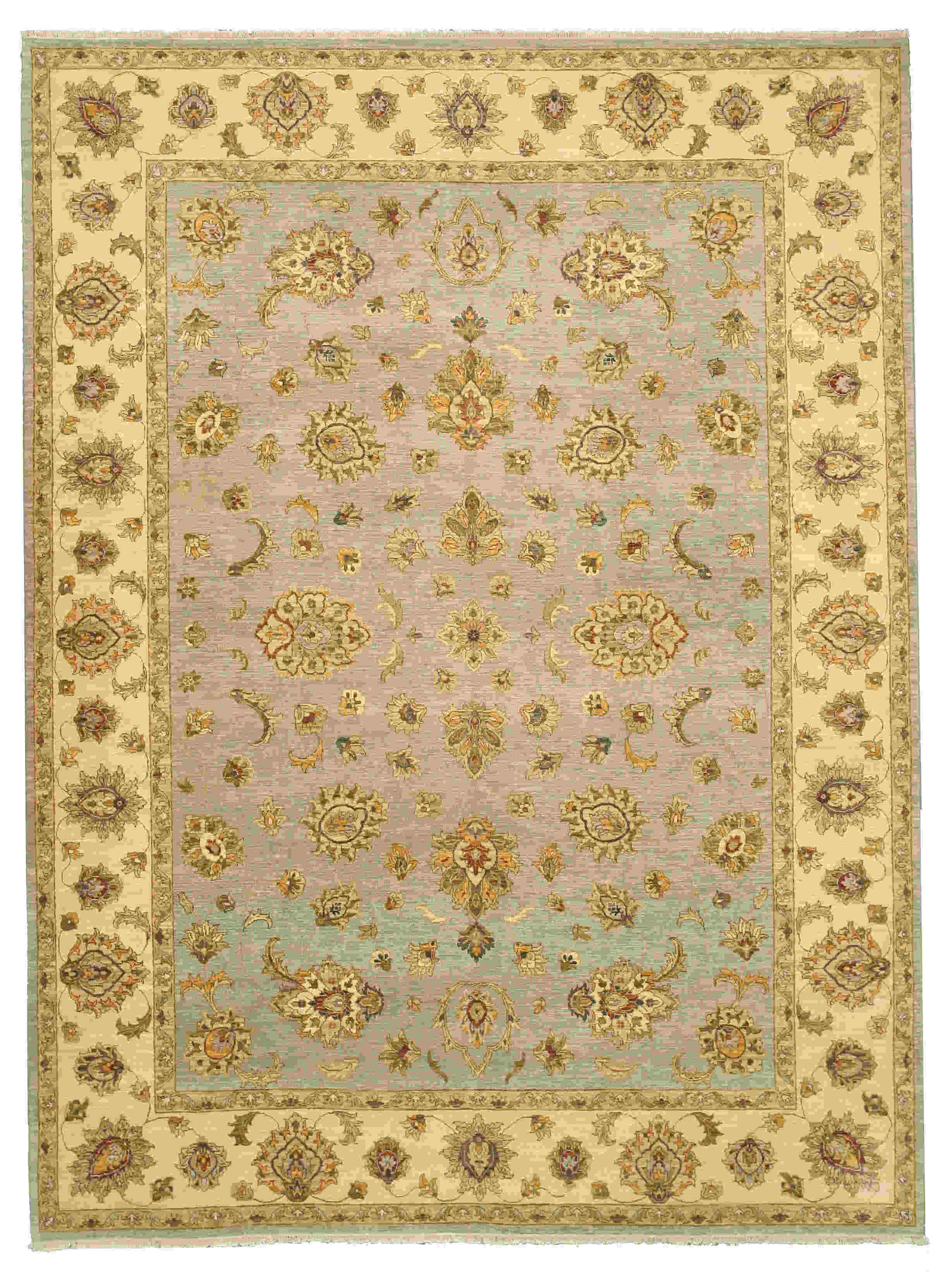Eorc Nk57bl Blue Hand Knotted Wool Agra Rug
