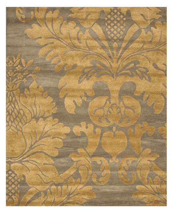 Eorc Ot32 Blue Hand-tufted 'avalon' Blue/ Gold Wool Rug , 4' X 6'